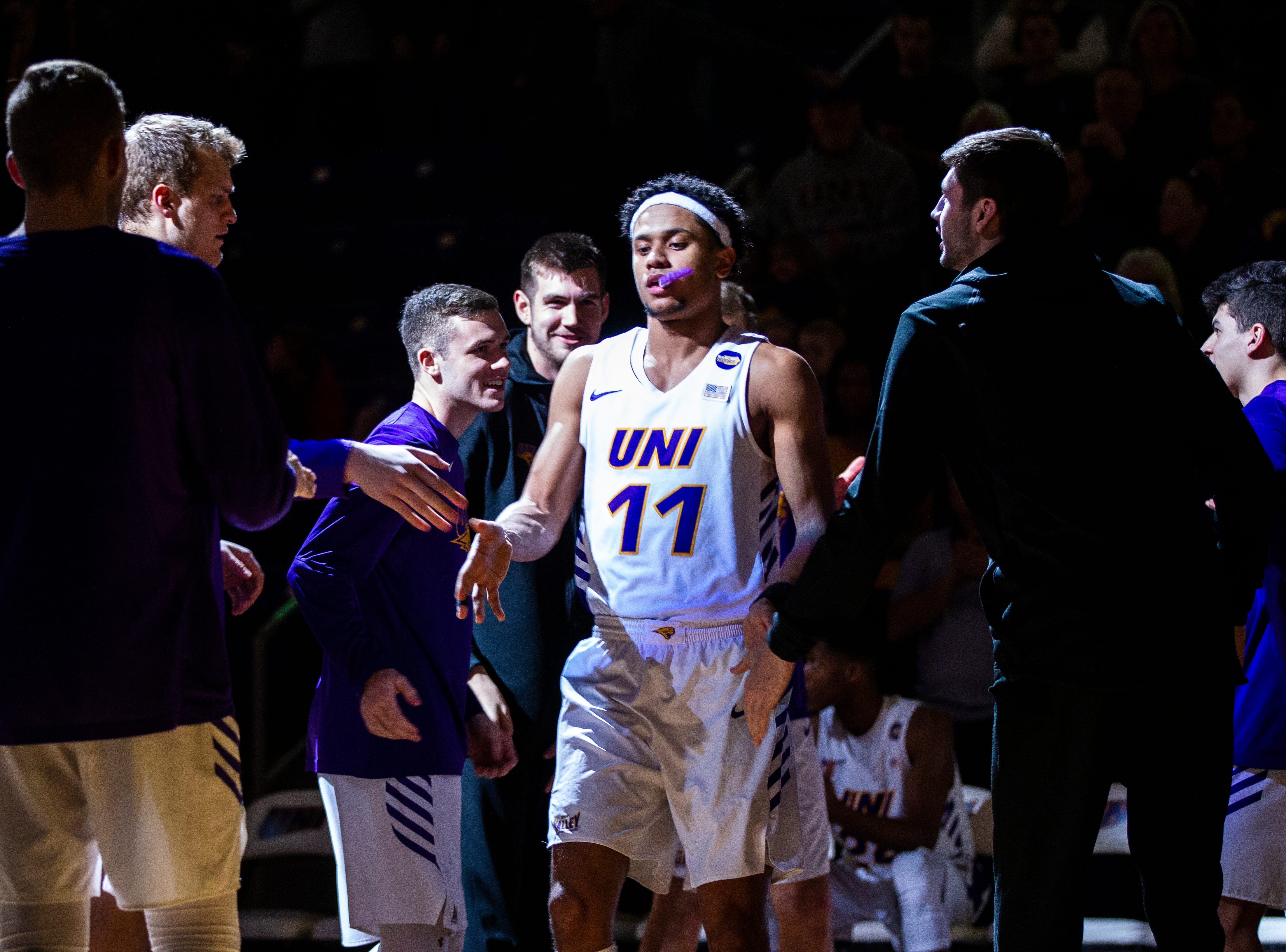 Northern Iowa guard Trae Berhow (11) gets introduced during a NCAA Missouri Valley Conference men's basketball game on Saturday, Jan. 5, 2019, at the McLeod Center in Cedar Falls, Iowa.