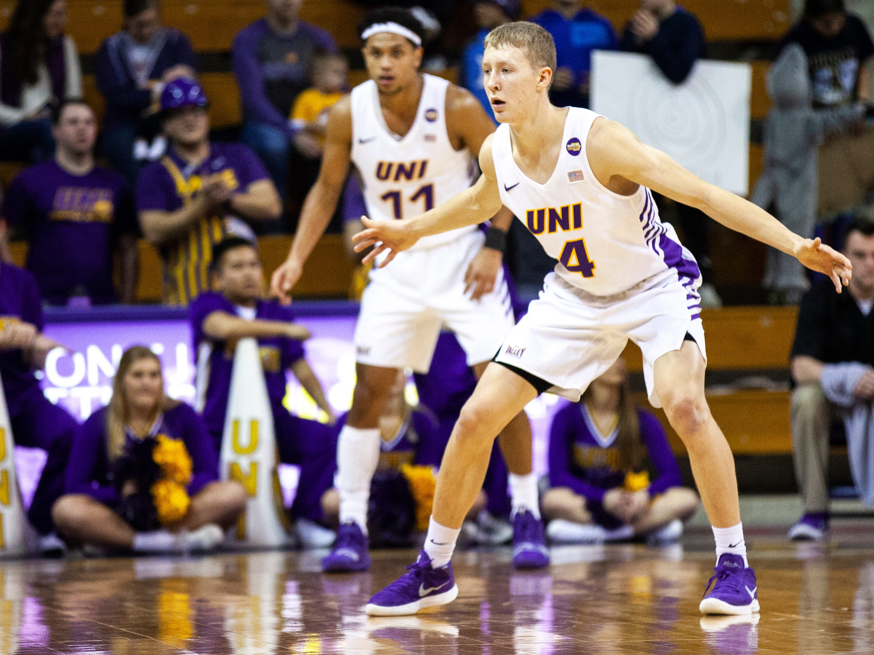 Northern Iowa guard A.J. Green settles in on defense during a NCAA Missouri Valley Conference men's basketball game on Saturday, Jan. 5, 2019, at the McLeod Center in Cedar Falls, Iowa.