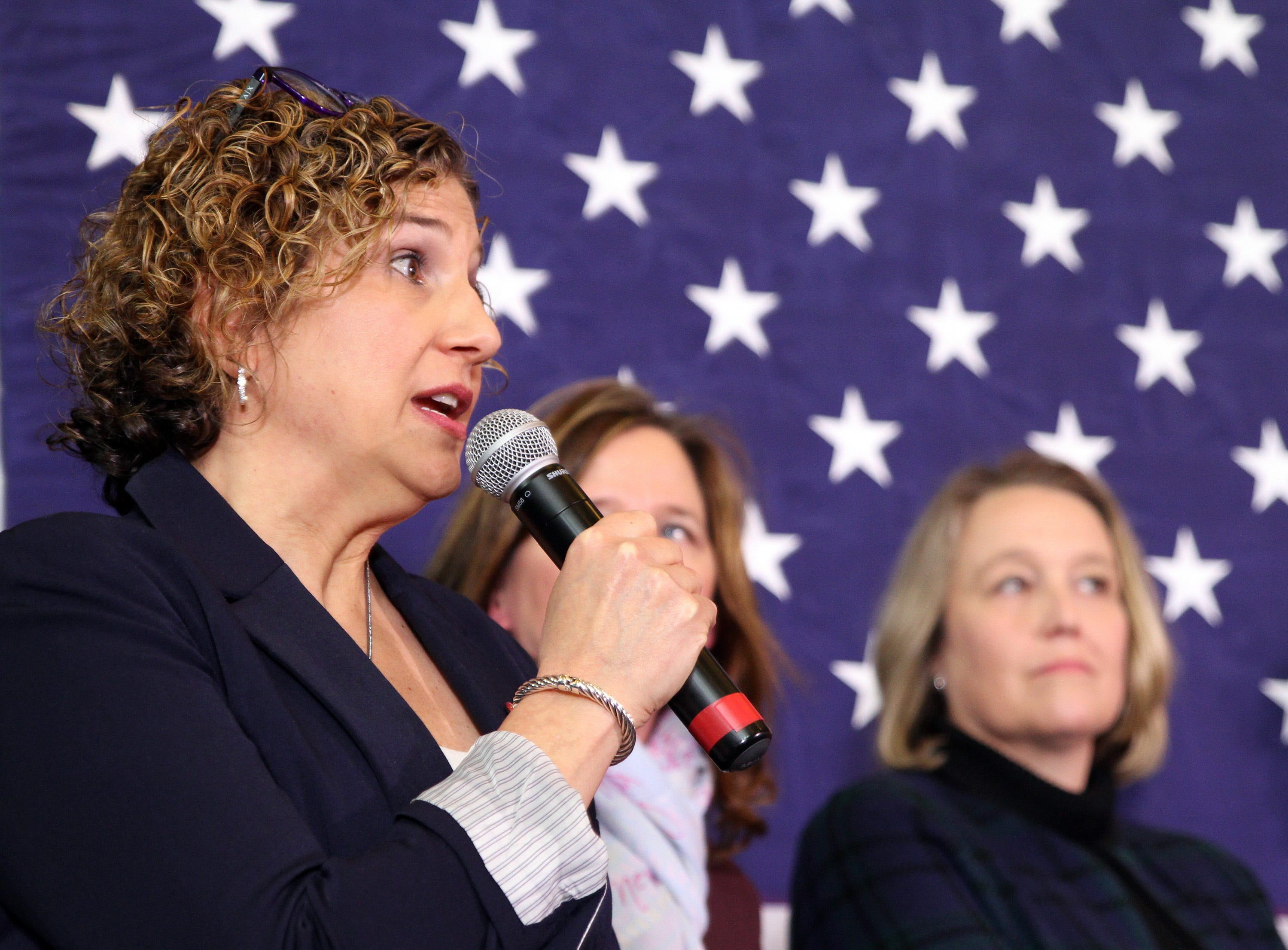 State Sen. Claire Celsi speaks about cuts to education with possible presidential candidate U.S. Sen. Elizabeth Warren of Massachusetts visits Iowa and makes a stop for a conversation with women leaders at The District Venue at 1350 SW Vintage Parkway on Sunday, Jan. 6, 2019, in Ankeny.