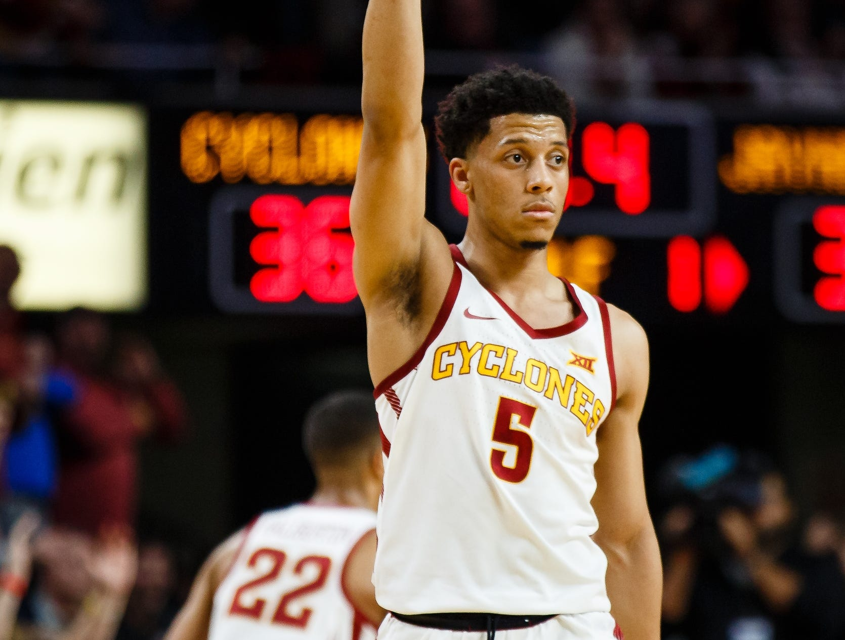 Iowa State's Lindell Wigginton (5) reacts to hitting a three point shot during the first half of their basketball game on Saturday, Jan. 5, 2019, in Ames. Iowa State would go on to win 77-60.