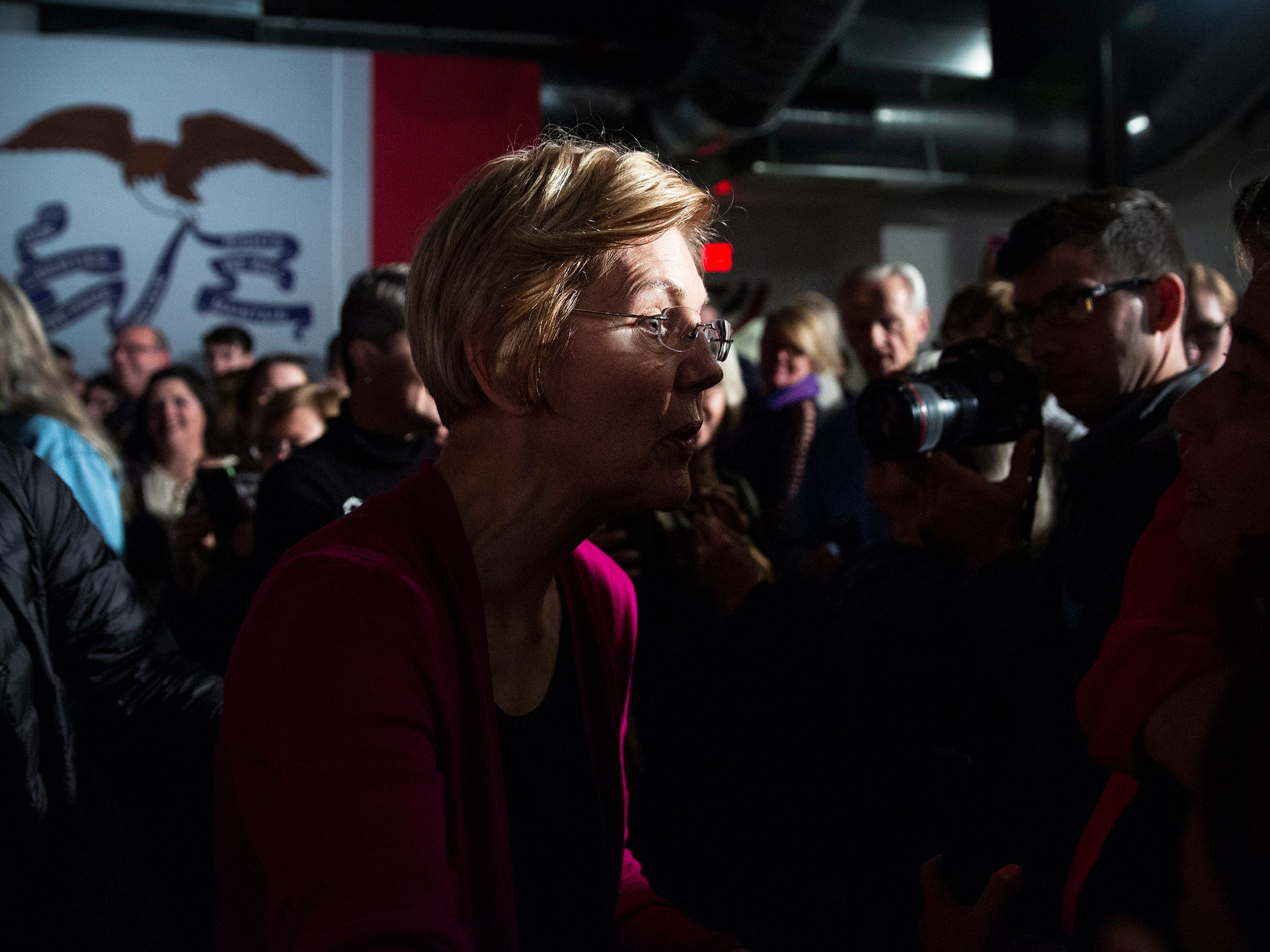 Elizabeth Warren, a potential 2020 presidential candidate, talks with people in the crowd on Saturday, Jan. 5, 2019, after speaking in Des Moines. She spent the weekend in Iowa also making stops in Council Bluffs, Sioux City, Storm Lake and Ankeny.