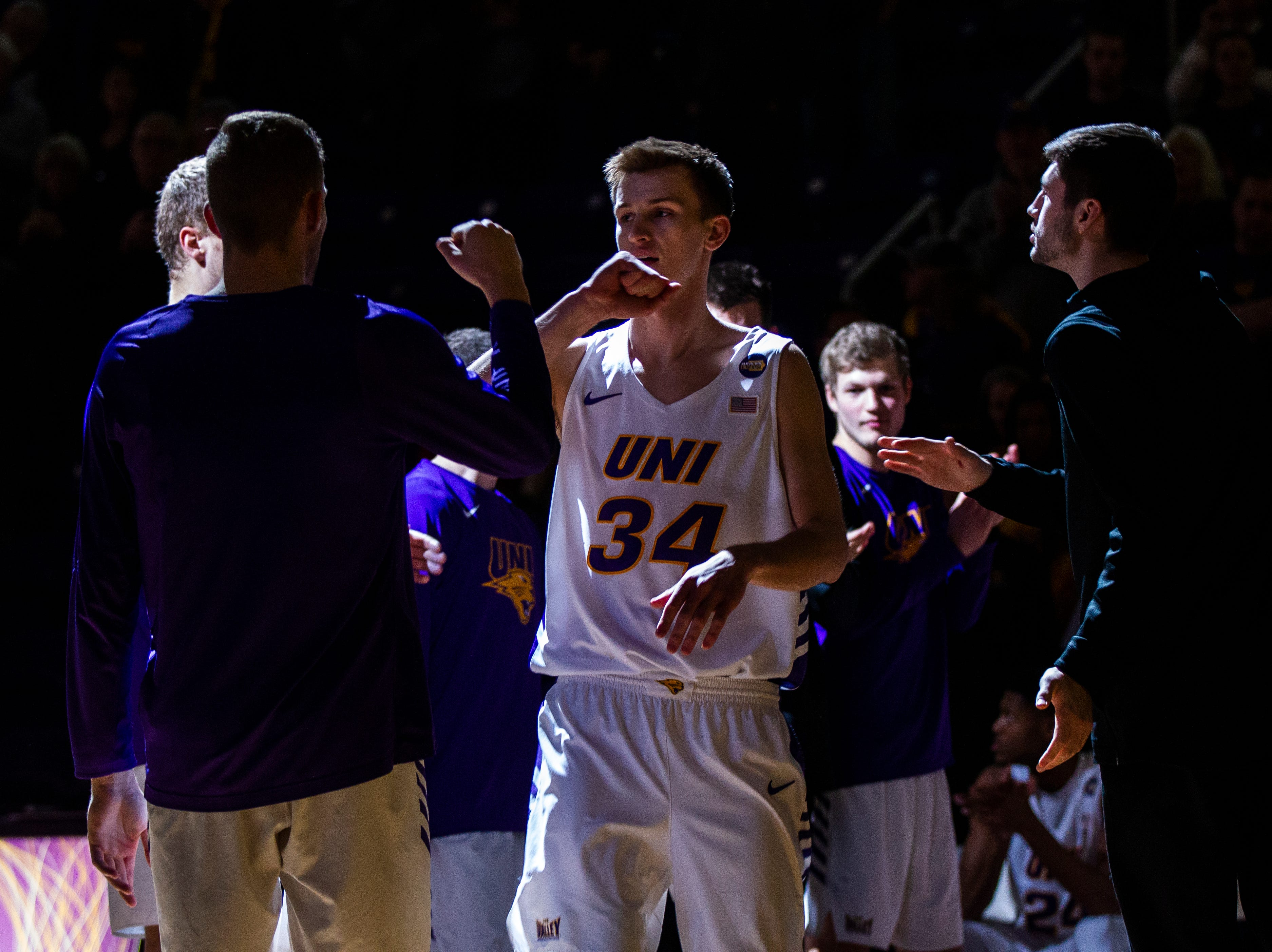 Northern Iowa forward Luke McDonnell (34) gets introduced during a NCAA Missouri Valley Conference men's basketball game on Saturday, Jan. 5, 2019, at the McLeod Center in Cedar Falls, Iowa.
