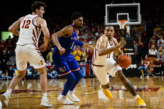 Iowa State's Talen Horton-Tucker (11) drives to the basket during the second half of their basketball game on Saturday, Jan. 5, 2019, in Ames. Iowa State would go on to beat Kansas 77-60.