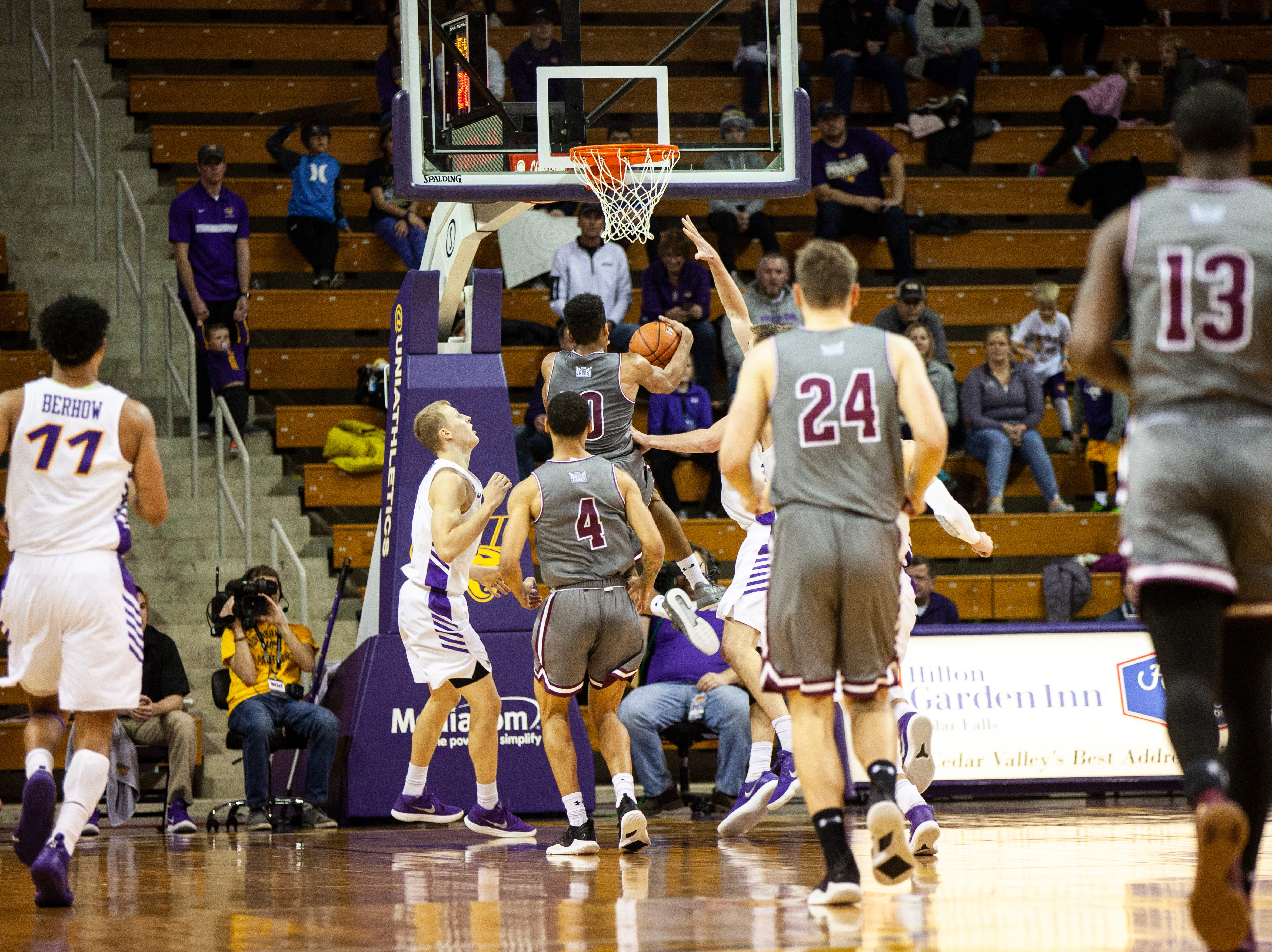 Southern Illinois guard Aaron Cook (10) makes a layup during a NCAA Missouri Valley Conference men's basketball game on Saturday, Jan. 5, 2019, at the McLeod Center in Cedar Falls, Iowa.