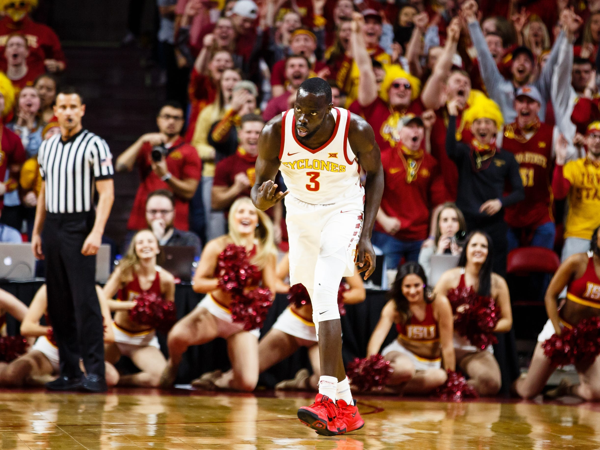 Iowa State's Marial Shayok (3) reacts after hitting a three pointer during the first half of their basketball game on Saturday, Jan. 5, 2019, in Ames. Iowa State would go on to win 77-60 and Shayok lead the game in scoring with 24.