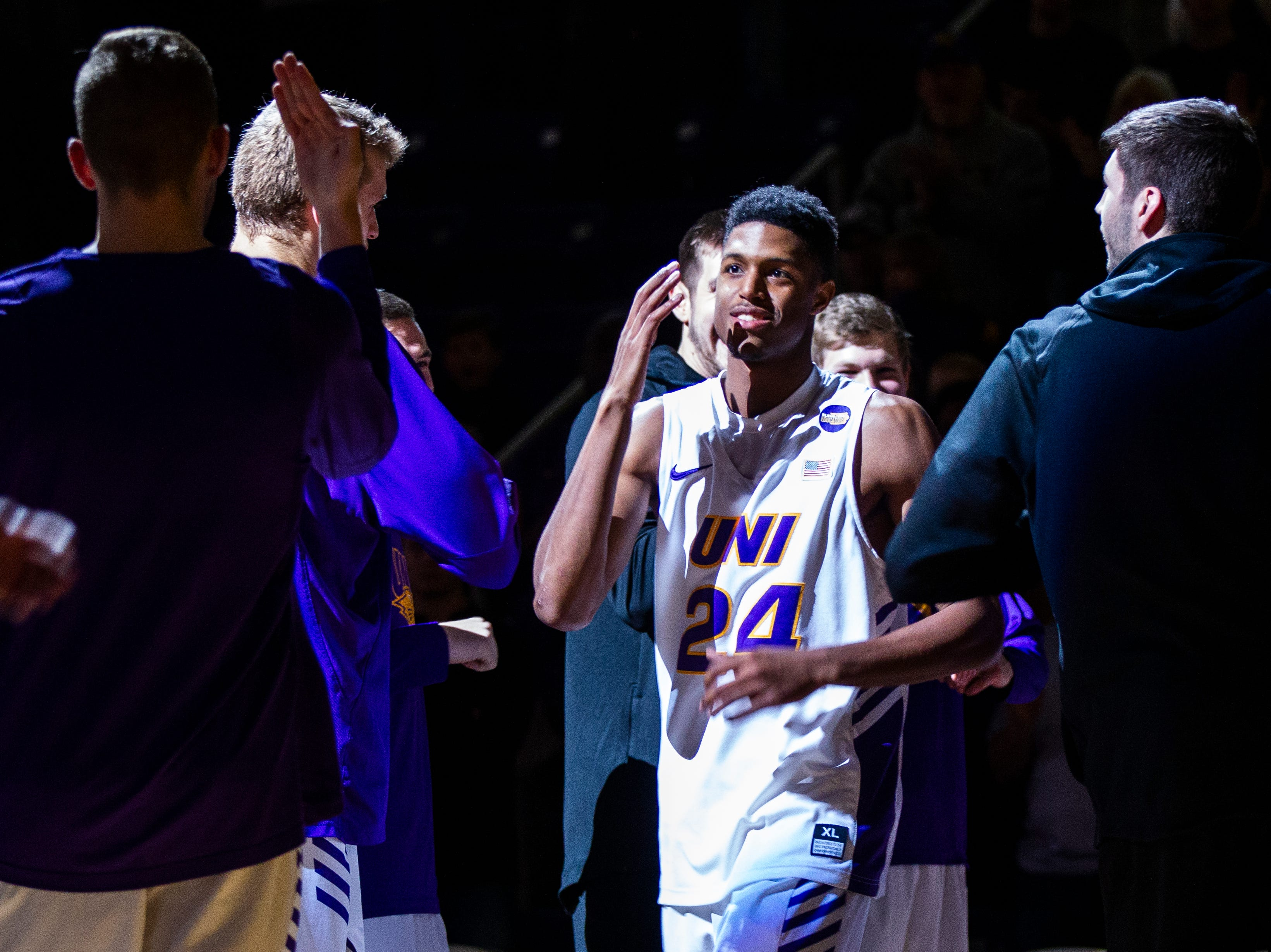 Northern Iowa guard Isaiah Brown (24) gets introduced during a NCAA Missouri Valley Conference men's basketball game on Saturday, Jan. 5, 2019, at the McLeod Center in Cedar Falls, Iowa.