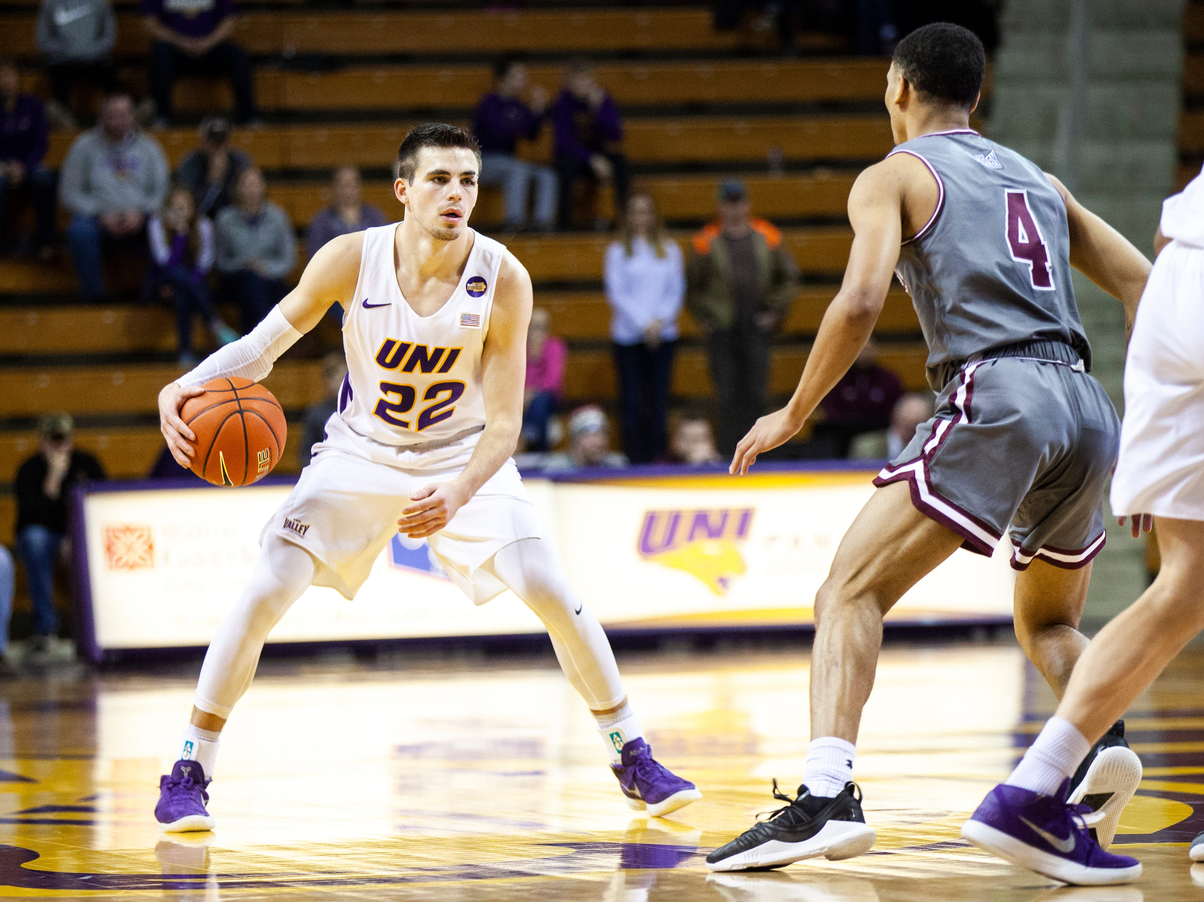 Northern Iowa guard Wyatt Lohaus (22) looks to pass during a NCAA Missouri Valley Conference men's basketball game on Saturday, Jan. 5, 2019, at the McLeod Center in Cedar Falls, Iowa.