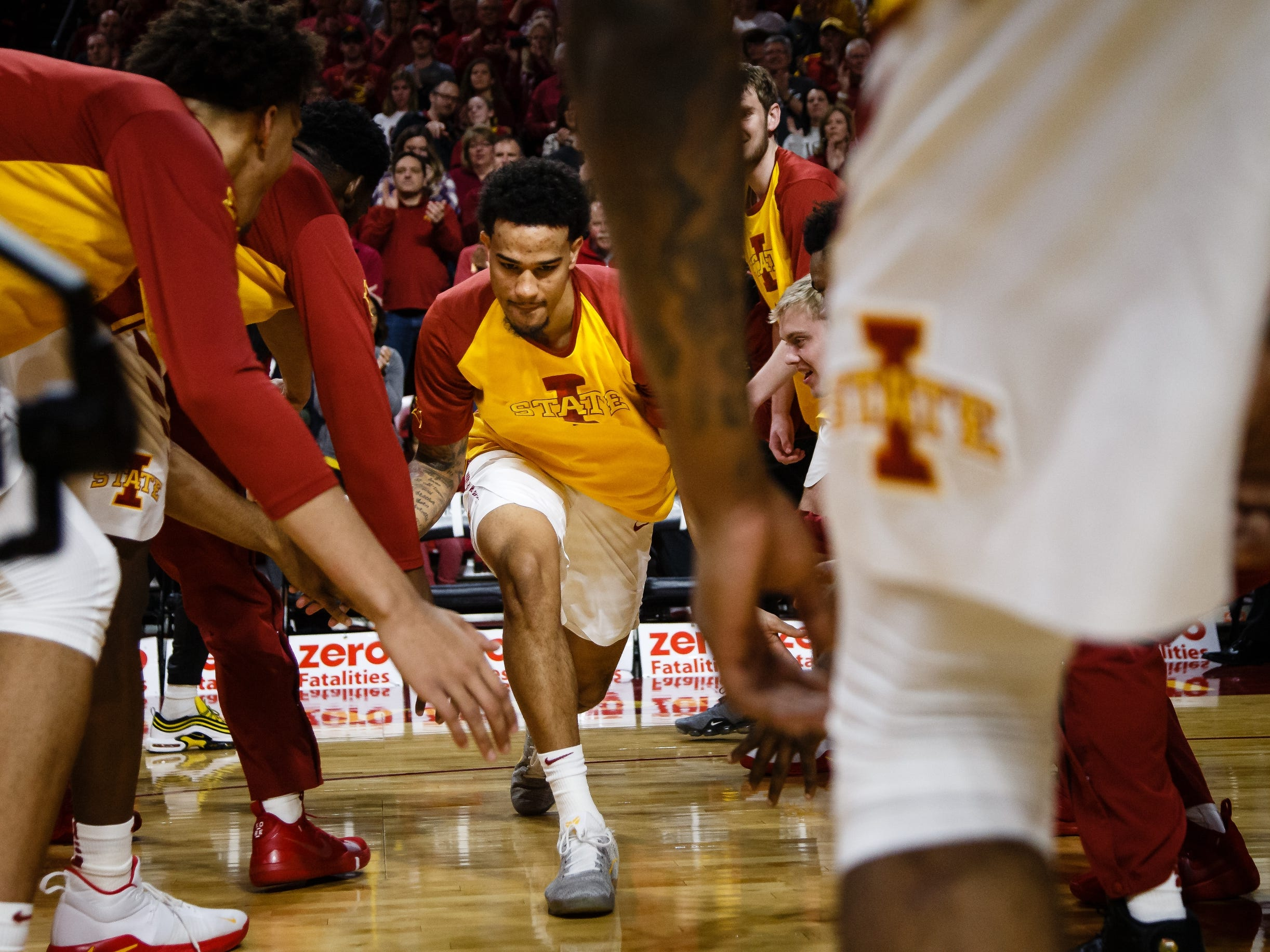 Iowa State's Nick Weiler-Babb (1) is introduced before the first half of their basketball game on Saturday, Jan. 5, 2019, in Ames. Iowa State would go on to defeat Kansas 77-60.