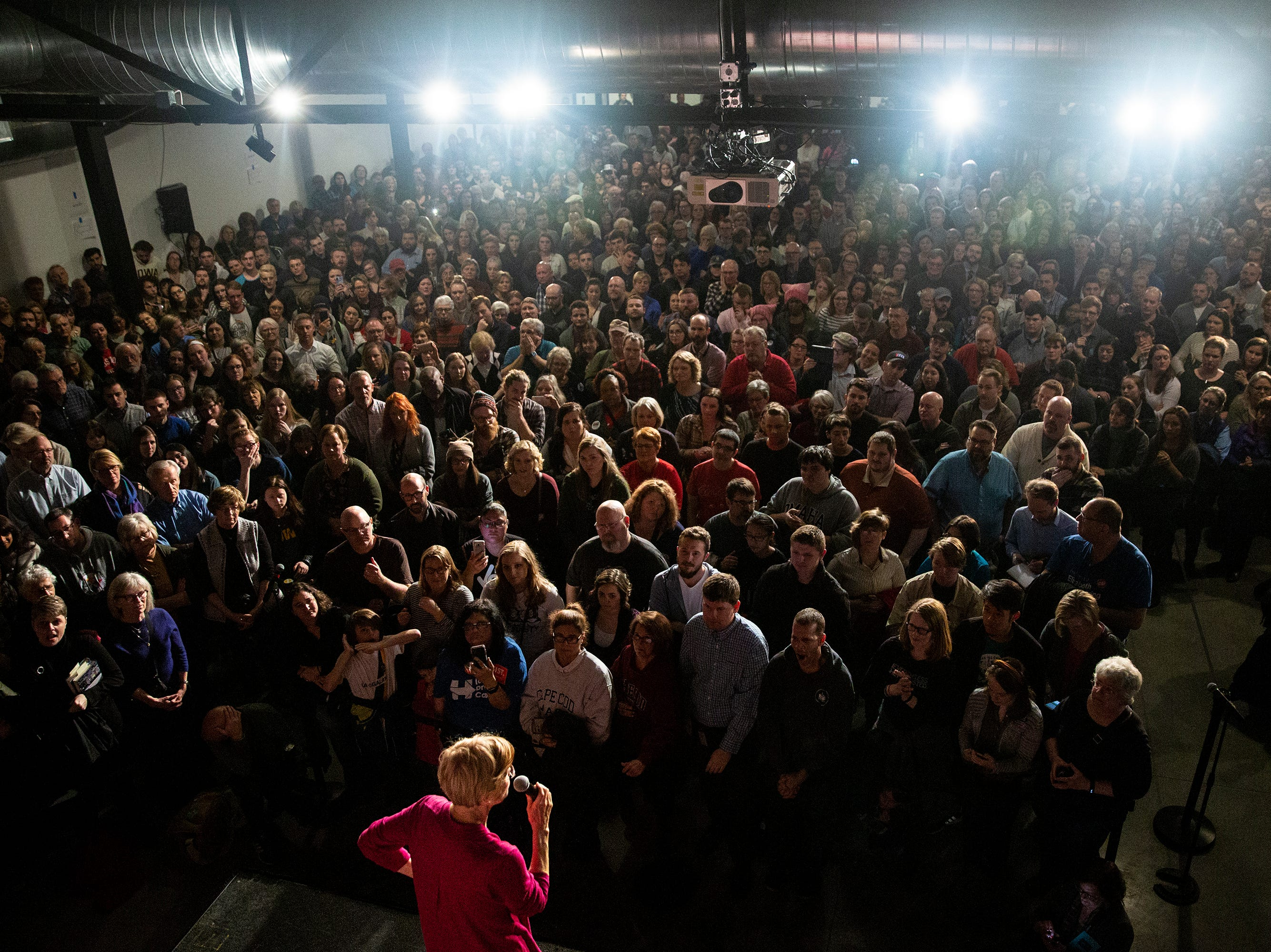 Elizabeth Warren, a senator from Massachusetts, speaks to a crowd of people on Saturday, Jan. 5, 2019, in Des Moines, just days after forming a presidential exploratory committee. This was her first trip to Iowa since 2014.