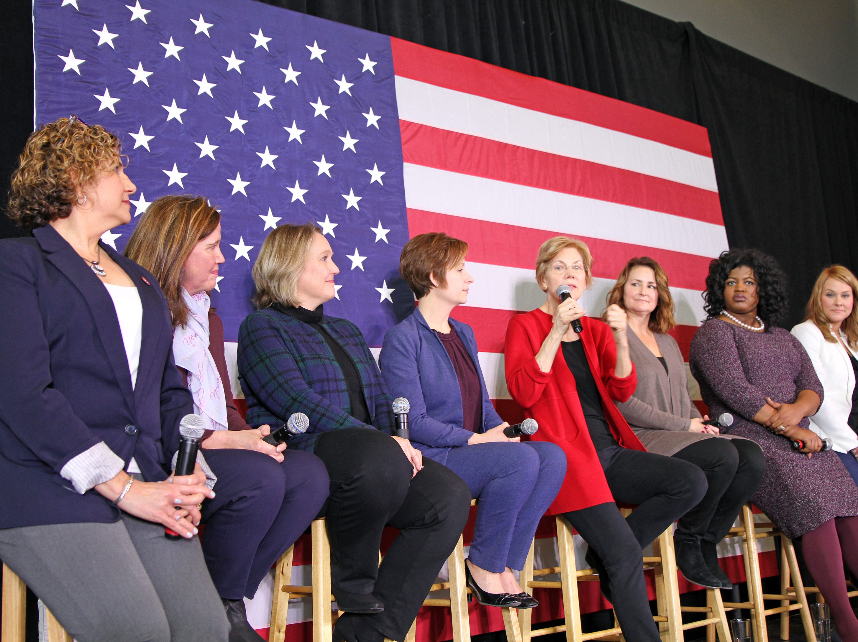 Possible presidential candidate U.S. Sen. Elizabeth Warren of Massachusetts visits Iowa and makes a stop for a conversation with women leaders at The District Venue at 1350 SW Vintage Parkway on Sunday, Jan. 6, 2019, in Ankeny.