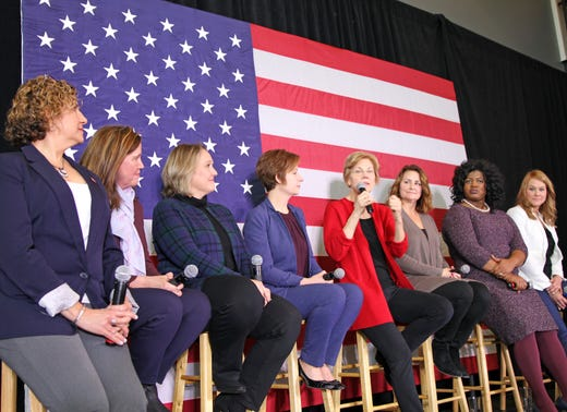 U.S. Sen. Elizabeth Warren of Massachusetts visits Ankeny, Iowa for a conversation with female leaders on Sunday, Jan. 6, 2019.