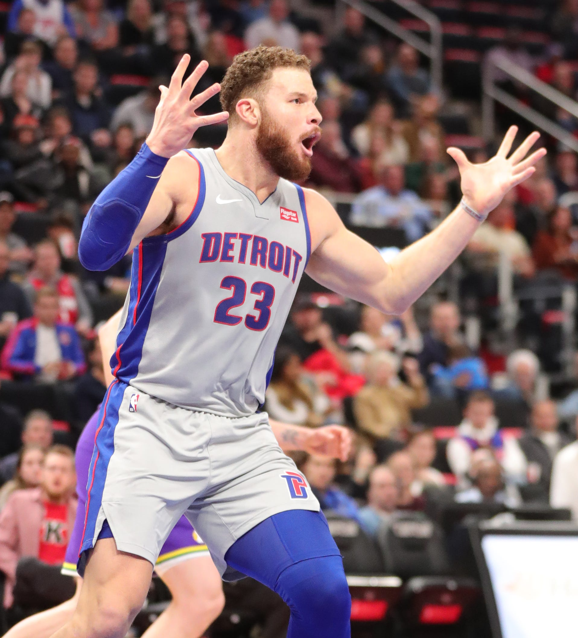 Blake Griffin reacts after scoring during the fourth period of the Pistons' 110-105 loss to the Jazz on Jan. 5.