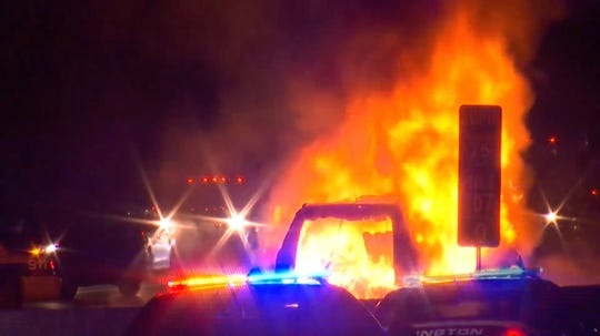 Frame grab from a video of a traffic accident that killed a family of five from Northville while traveling on I-75 in Lexington, KY, January 6, 2019.  Photo courtesy LEX 18.