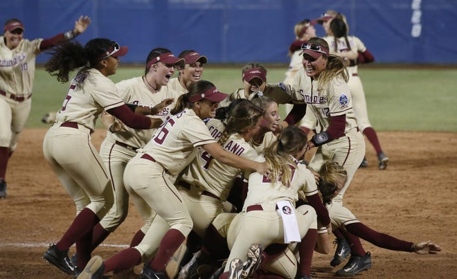 Florida State celebrated its first NCAA softball Women's College World Series title in program history in 2018.