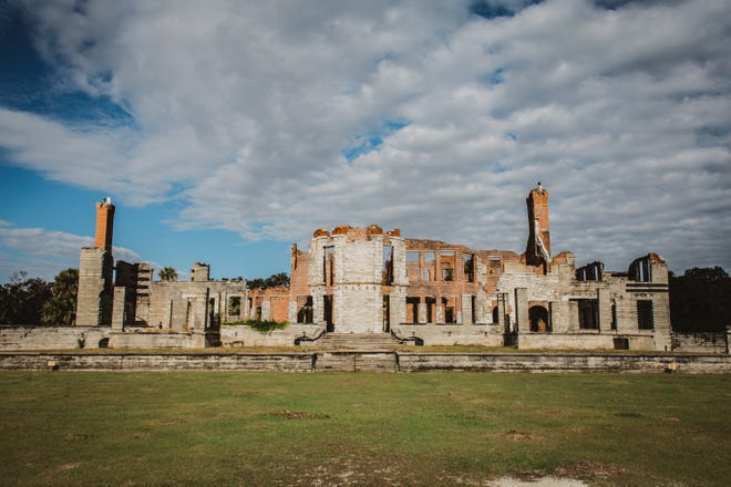The ruins of Dungeness mansion, a 59-room winter home for the Carnegie family, still stands tall on the Southern tip of Cumberland Island, Ga.