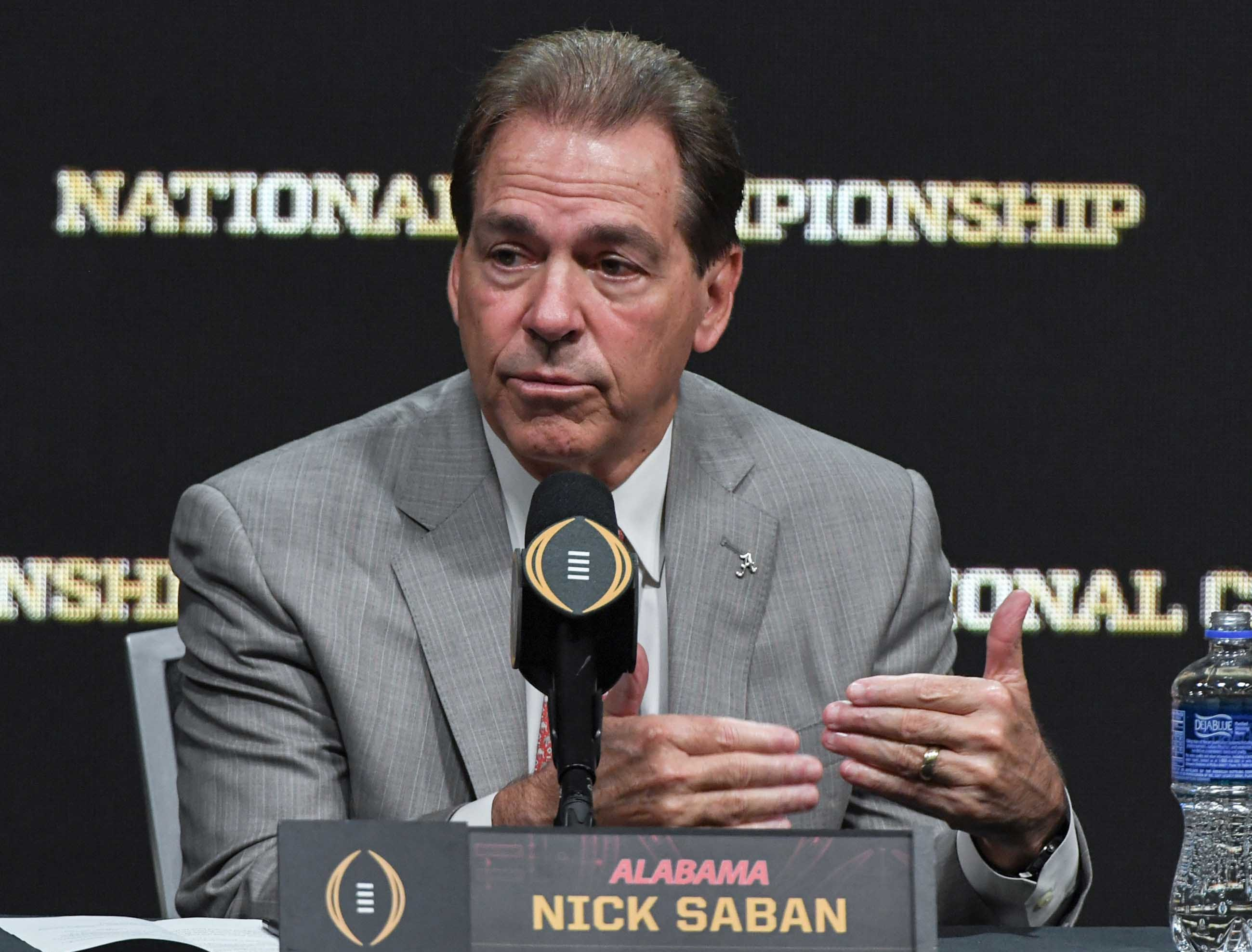 Alabama coach Nick Saban during the College Football Playoff Championship coaches press conference in San Jose, California January 6, 2019.