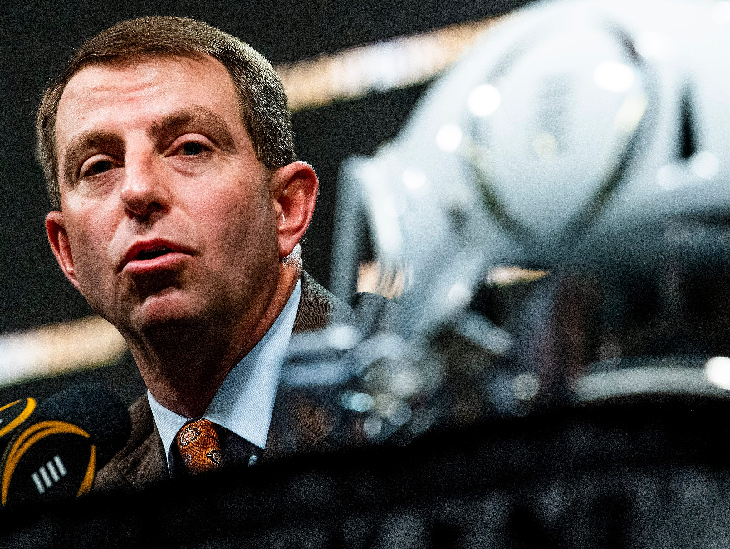 Clemson head coach Dabo Swinney speaks during the College Football National Championship coaches press conference in San Jose, Ca., on Sunday January 6, 2019.