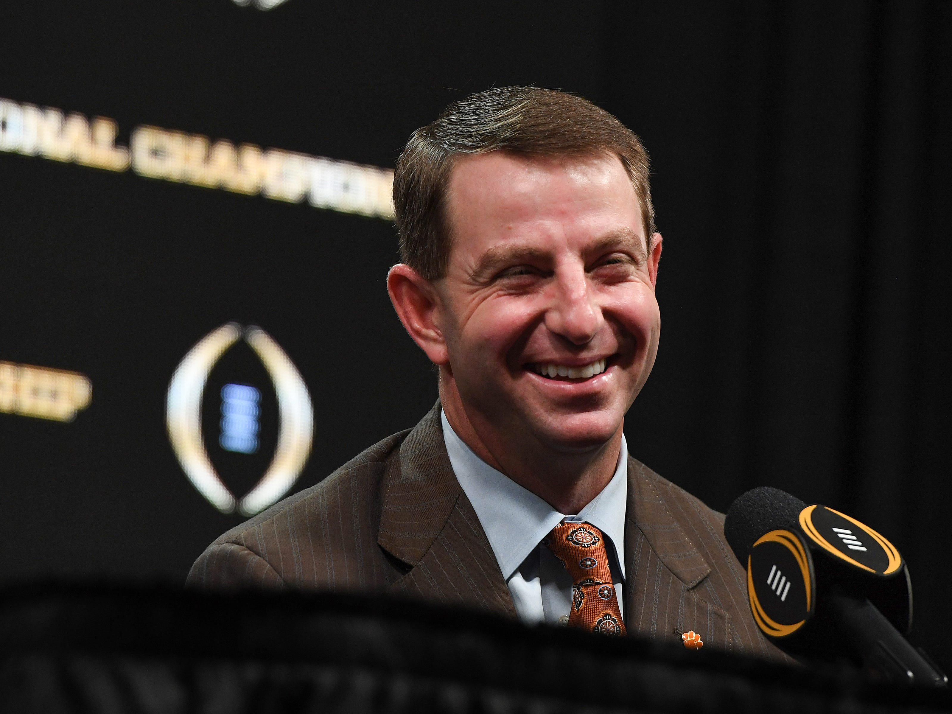 Clemson head coach Dabo Swinney laughs during the College Football Playoff Championship coaches press conference in San Jose, California January 6, 2019.