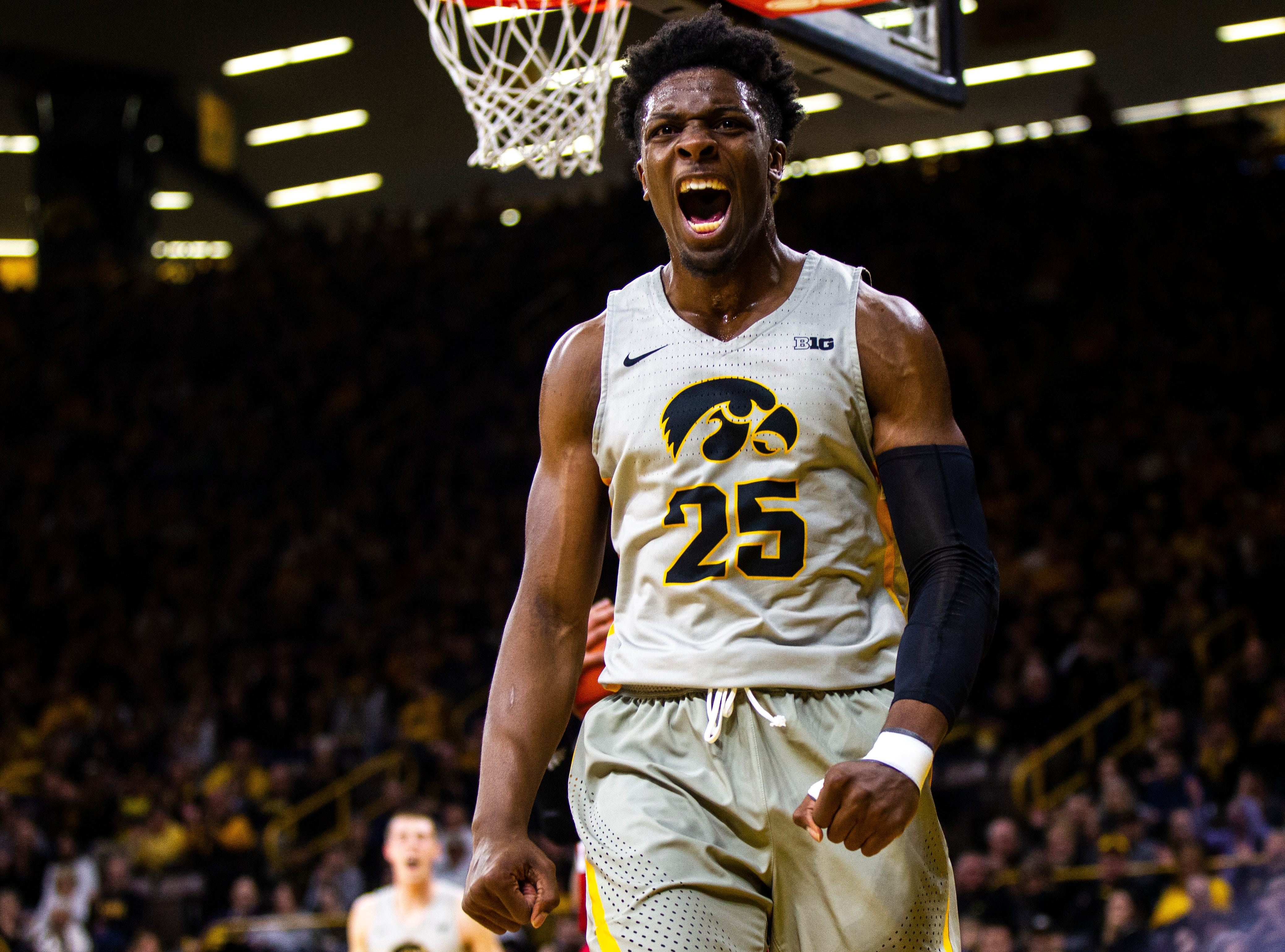 Iowa forward Tyler Cook (25) celebrates after drawing a foul during a NCAA Big Ten Conference men's basketball game on Sunday, Jan. 6, 2019, at the Carver-Hawkeye Arena in Iowa City, Iowa.
