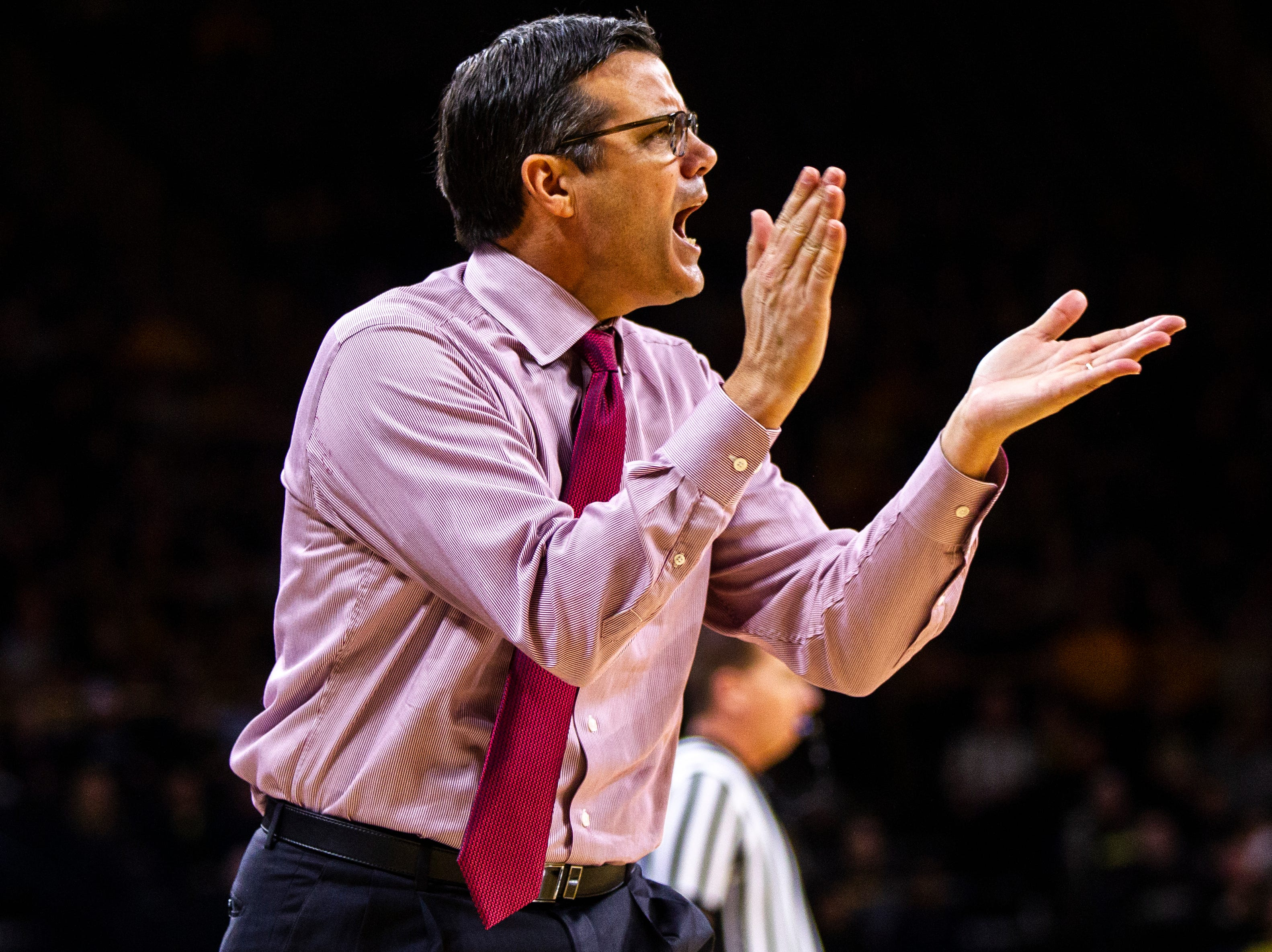 Nebraska head coach Tim Miles calls out to players during a NCAA Big Ten Conference men's basketball game on Sunday, Jan. 6, 2019, at the Carver-Hawkeye Arena in Iowa City, Iowa.