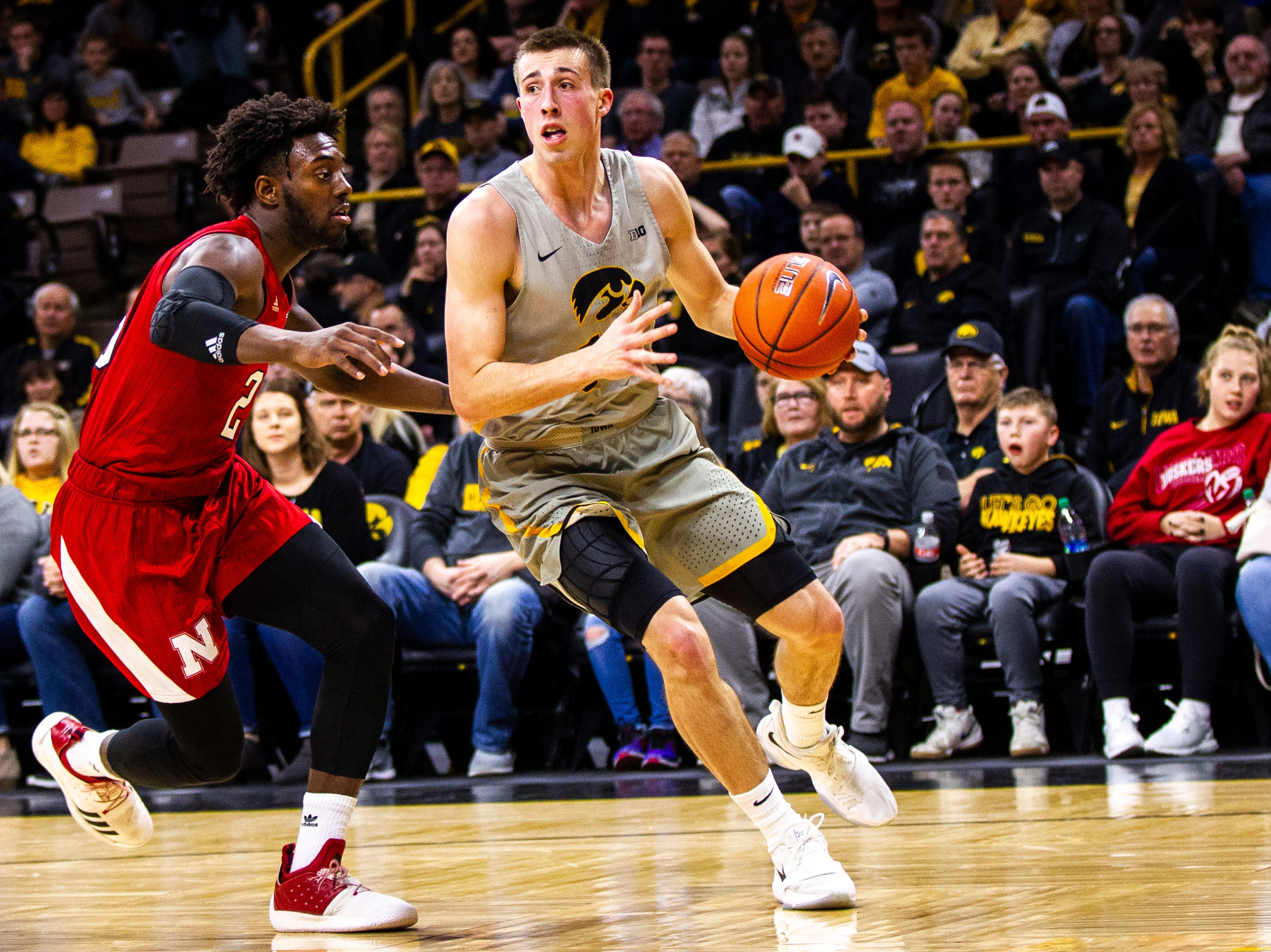 Iowa guard Joe Wieskamp (10) drives to the hoop during a NCAA Big Ten Conference men's basketball game on Sunday, Jan. 6, 2019, at the Carver-Hawkeye Arena in Iowa City, Iowa.