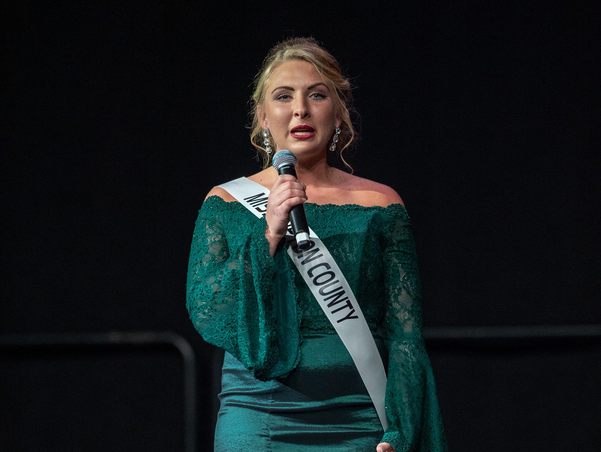 """Miss Tipton County, Sylvia Harris, was given the word """"selfless"""" to use in a spontaneous response during the 61st Indiana State Fair Queen Pageant at the Indiana State Fairgrounds in Indianapolis on Sunday, Jan. 6, 2019."""