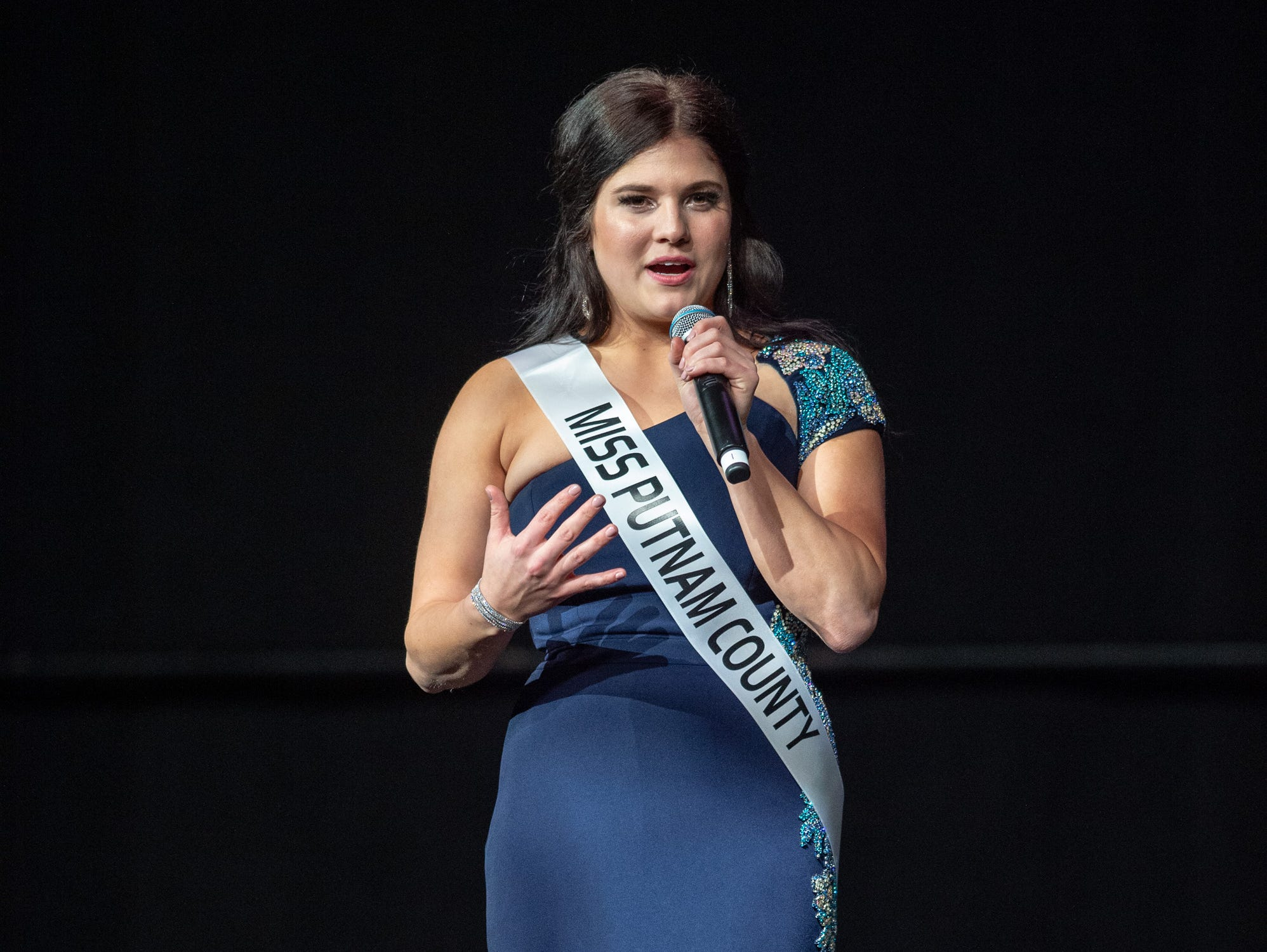 """Miss Putnam County, Reagan Bowling, was given the word """"humility"""" to use in a spontaneous response during the 61st Indiana State Fair Queen Pageant at the Indiana State Fairgrounds in Indianapolis on Sunday, Jan. 6, 2019."""