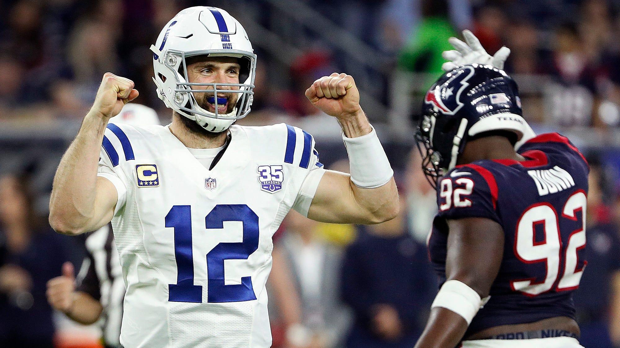 Indianapolis Colts quarterback Andrew Luck (12) begins to celebrate in the fourth quarter of their AFC Wild Card playoff game at NRG Stadium in Houston, TX., on Saturday, Jan. 5, 2019.
