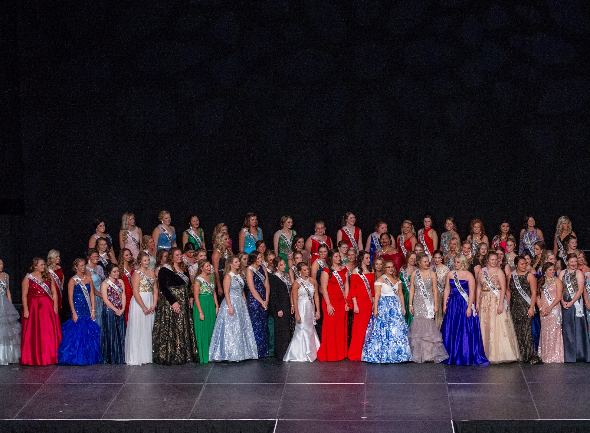 Eighty-seven contestants fill the stage during the 61st Indiana State Fair Queen Pageant at the Indiana State Fairgrounds in Indianapolis on Sunday, Jan. 6, 2019.