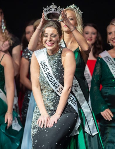 Miss Benton County, Halle Shoults, is crowned the 2019 Indiana State Fair Queen during the 61st Indiana State Fair Queen Pageant at the Indiana State Fairgrounds in Indianapolis on Sunday, Jan. 6, 2019.