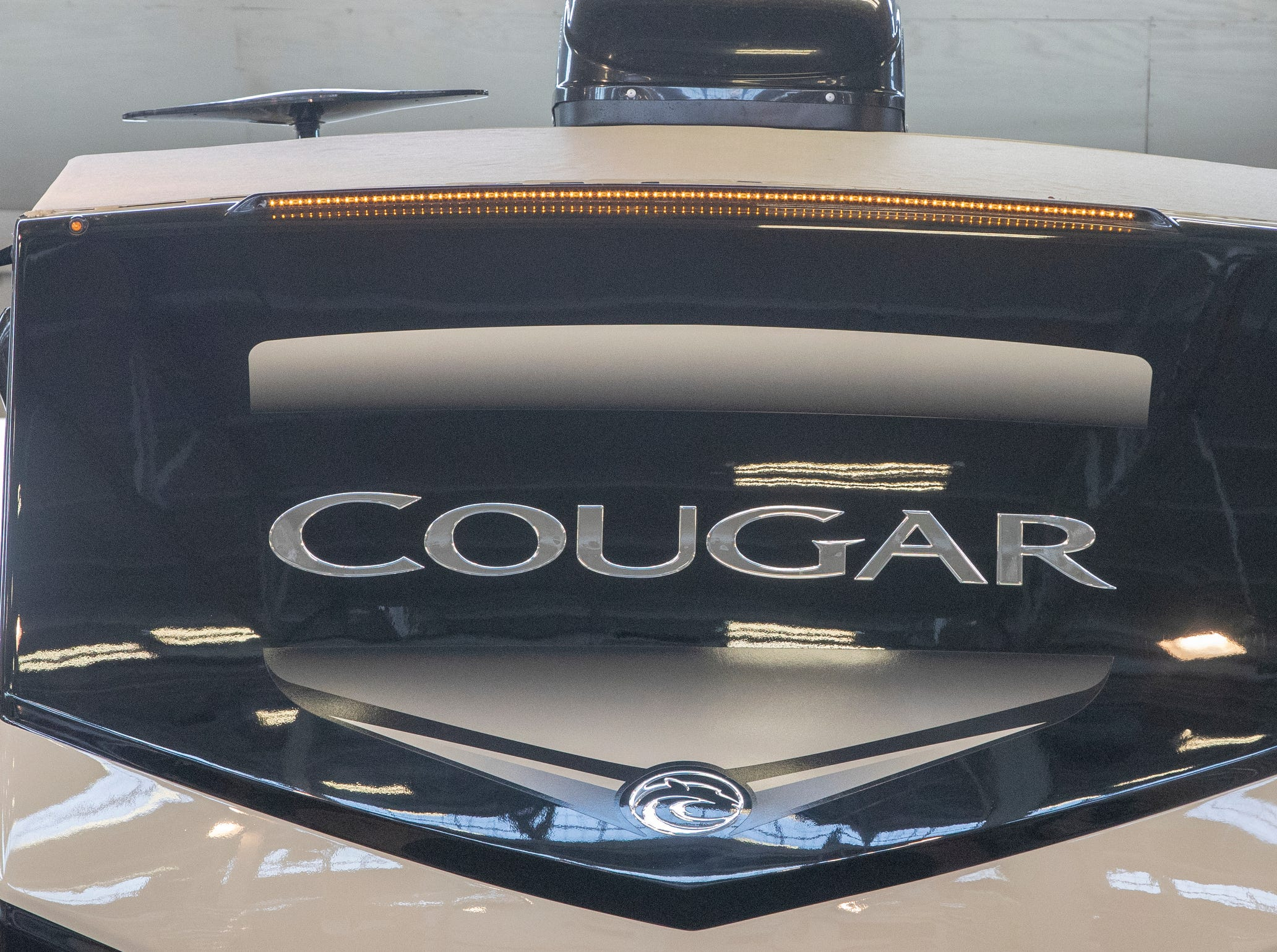 The logo on a 2019 Cougar 362 RKS, at the Indy RV Expo, Indiana State Fairgrounds, Indianapolis, Sunday, January 6, 2019. The show runs through the 13th.