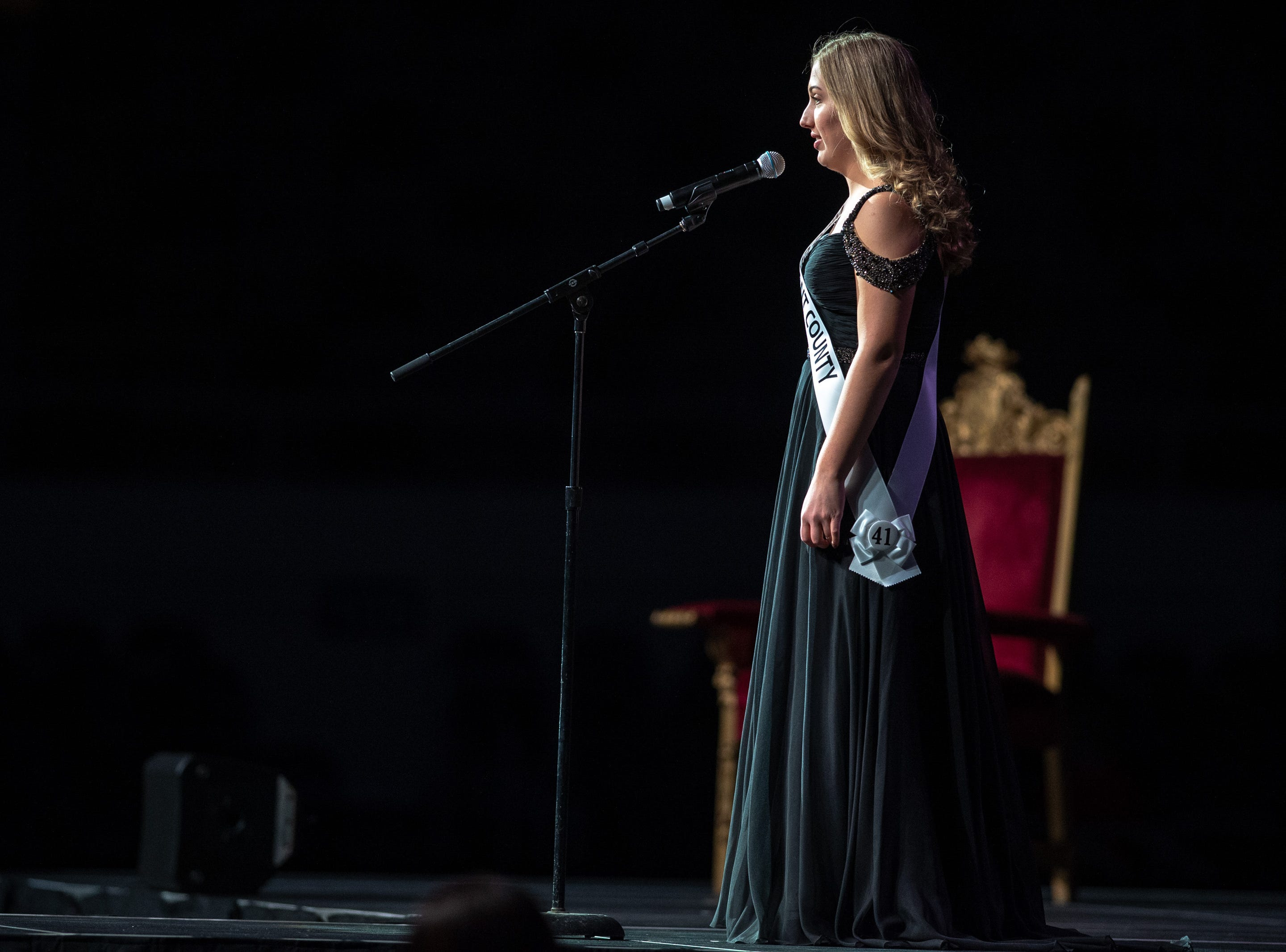 Miss Grant County, Victoria Templin, introduces herself during the 61st Indiana State Fair Queen Pageant at the Indiana State Fairgrounds in Indianapolis on Sunday, Jan. 6, 2019.