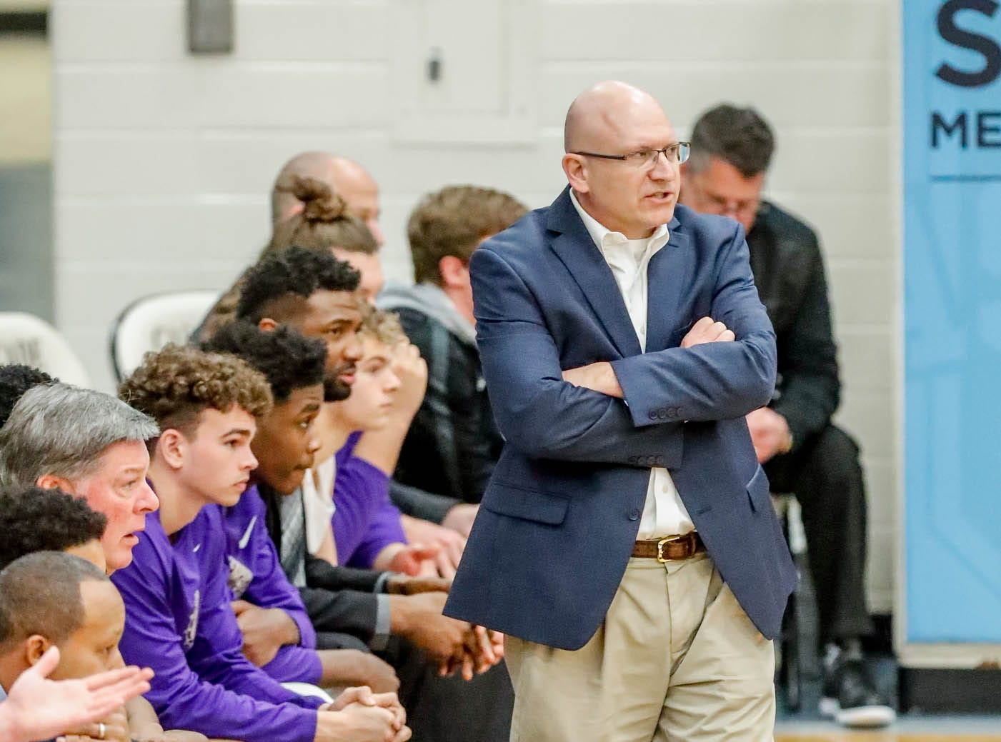 Brownsburg High School's Head Coach Steve Lynch paces the sidelines during the 2019 Hendricks County Basketball Tournament game between the Avon High School boys varsity basketball team and Brownsburg High School, held at Cascade High School on Saturday, Jan. 5, 2019.