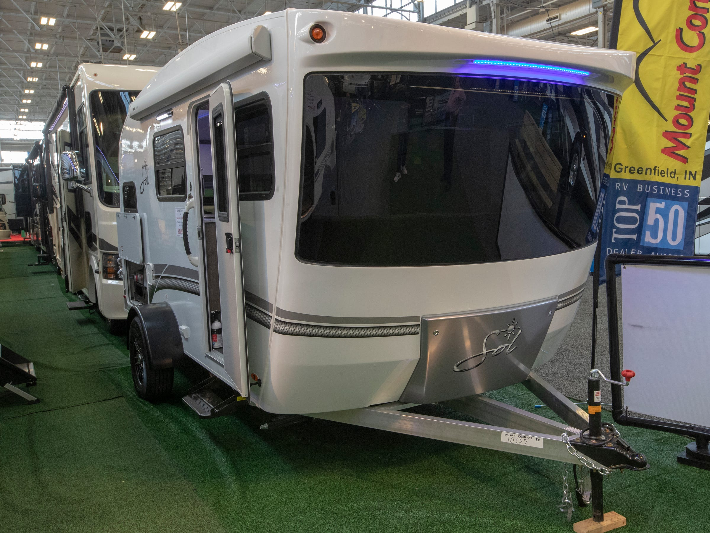 A 2019 Intech Sol, complete with a lot of modern touches like blue accent lights and a futuristic front end, at the Indy RV Expo, Indiana State Fairgrounds, Indianapolis, Sunday, January 6, 2019. The show runs through the 13th.
