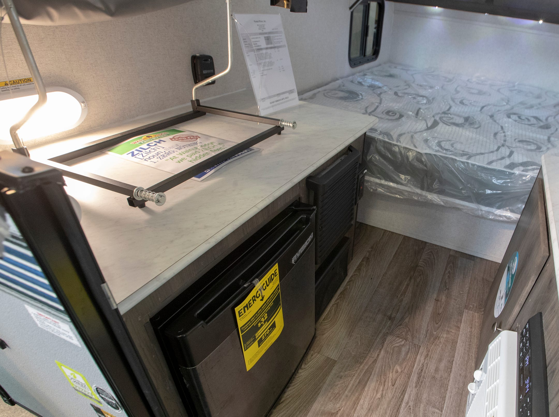 A 2019 Clipper Express 9.0TD, a unit that can be towed behind a small car and includes a stove, fridge, and sound system, at the Indy RV Expo, Indiana State Fairgrounds, Indianapolis, Sunday, January 6, 2019. The show runs through the 13th.