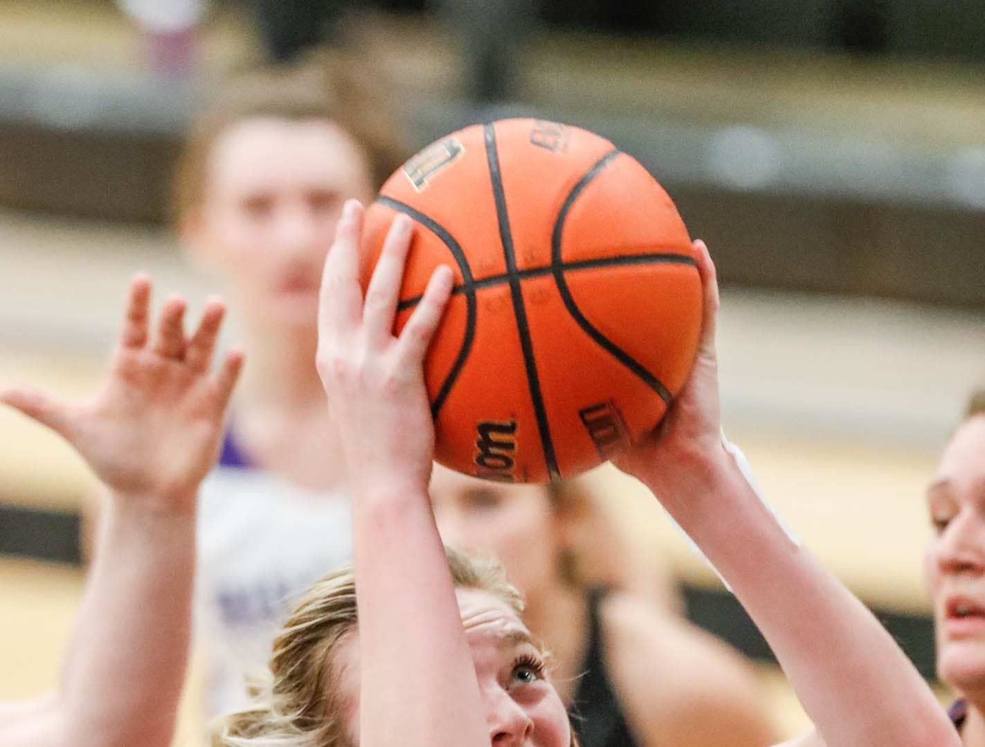Brownsburg High School's forward Mackenzie Stien (44), grabs a rebound during a 2019 Hendricks County Basketball Tournament game between the Avon High School girls varsity basketball team and Brownsburg High School, held at Cascade High School on Saturday, Jan. 5, 2019.