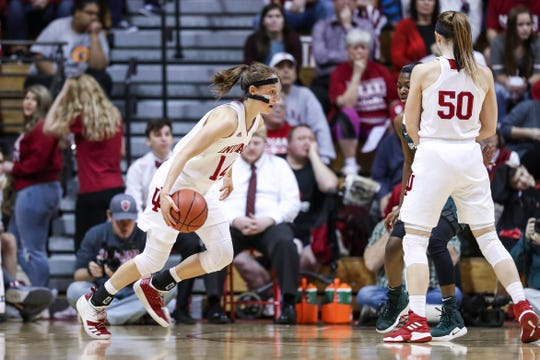 BLOOMINGTON, IN - JANUARY 06, 2019 - guard Ali Patberg #14 of the Indiana Hoosiers  during the game against the Michigan State Spartans and the Indiana Hoosiers at Simon Skjodt Assembly Hall in Bloomington, IN.