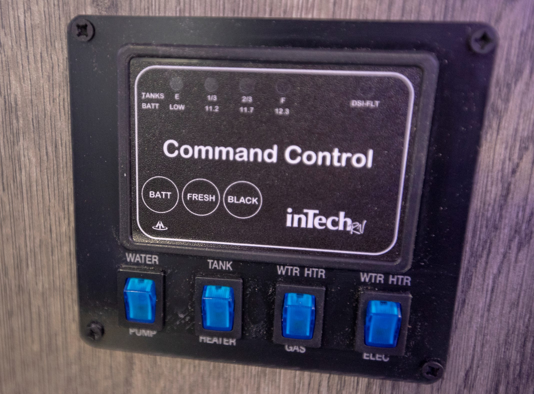 Controls on the 2019 Intech Sol, complete with a lot of modern touches like blue accent lights and a futuristic front end, at the Indy RV Expo, Indiana State Fairgrounds, Indianapolis, Sunday, January 6, 2019. The show runs through the 13th.