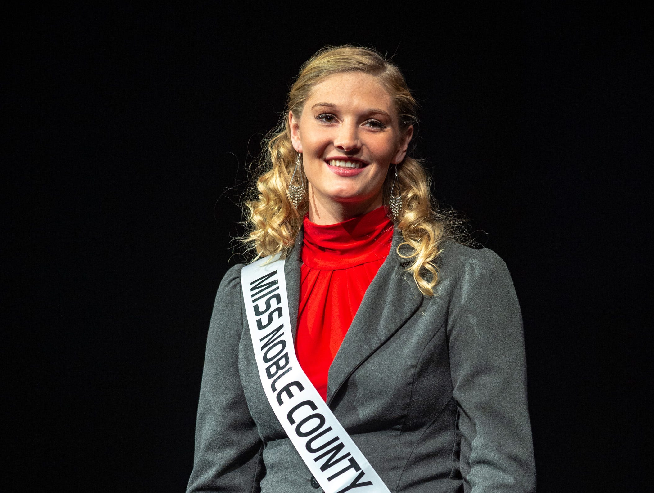 Miss Noble County, Kaylie Warble, during the 61st Indiana State Fair Queen Pageant at the Indiana State Fairgrounds in Indianapolis on Sunday, Jan. 6, 2019. Miss Benton County, Halle Shoults, was crowned the 2019 Indiana State Fair Queen.