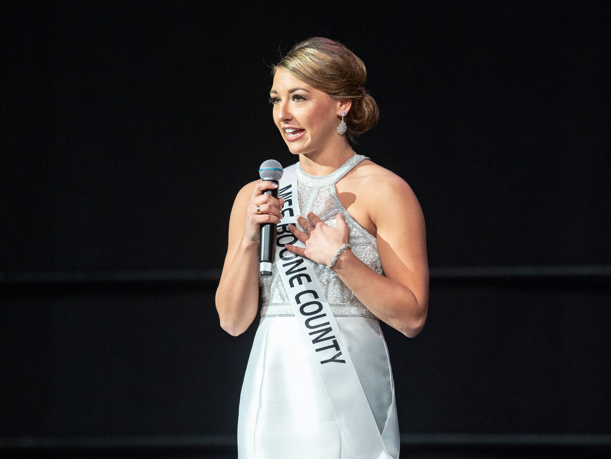 """Miss Boone County, Maci French, was given the word """"tradition"""" to use in a spontaneous response during the 61st Indiana State Fair Queen Pageant at the Indiana State Fairgrounds in Indianapolis on Sunday, Jan. 6, 2019."""