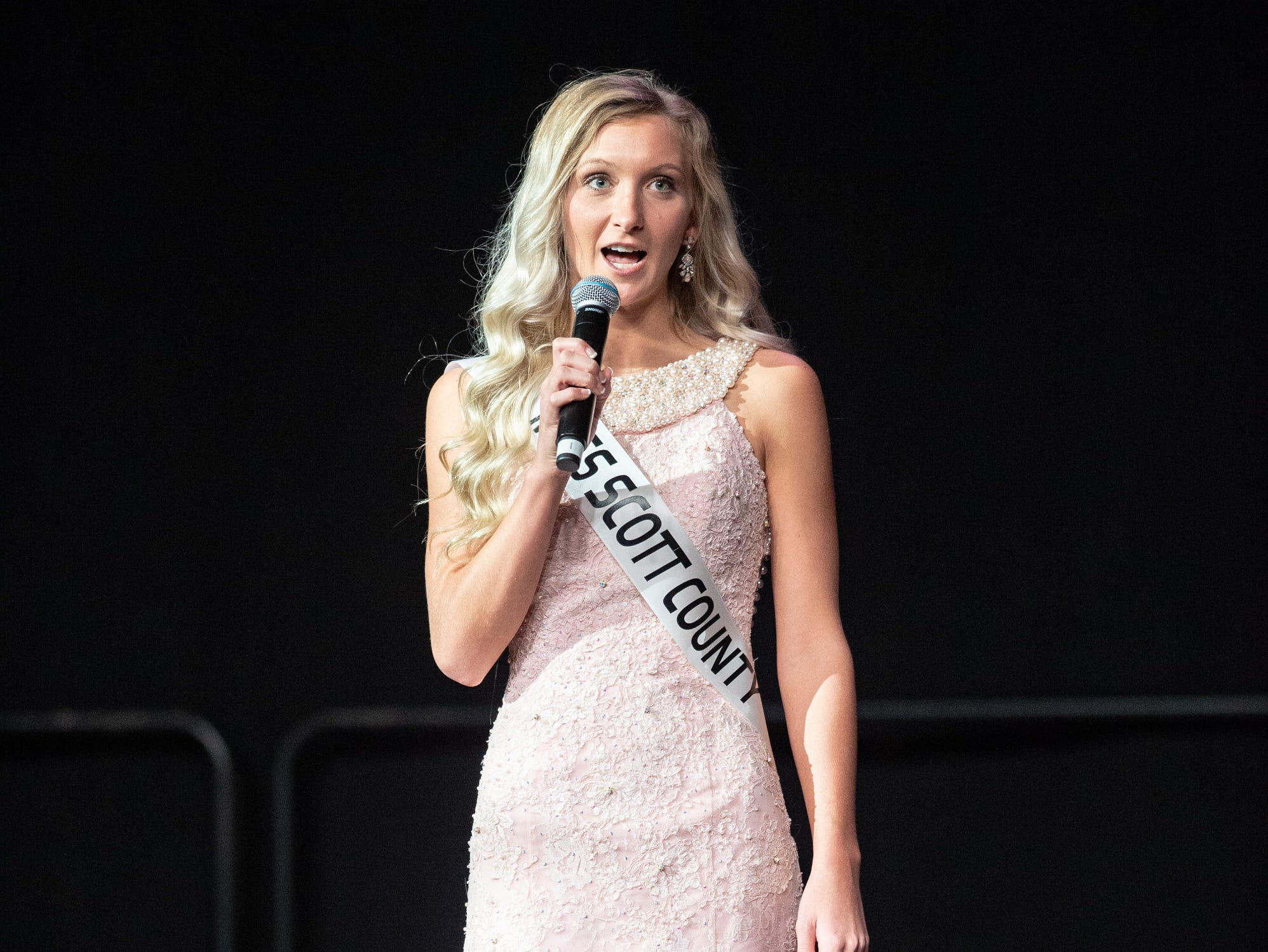 """Miss Scott County, Jesse Mays, was given the word """"powerful"""" to use in a spontaneous response during the 61st Indiana State Fair Queen Pageant at the Indiana State Fairgrounds in Indianapolis on Sunday, Jan. 6, 2019."""