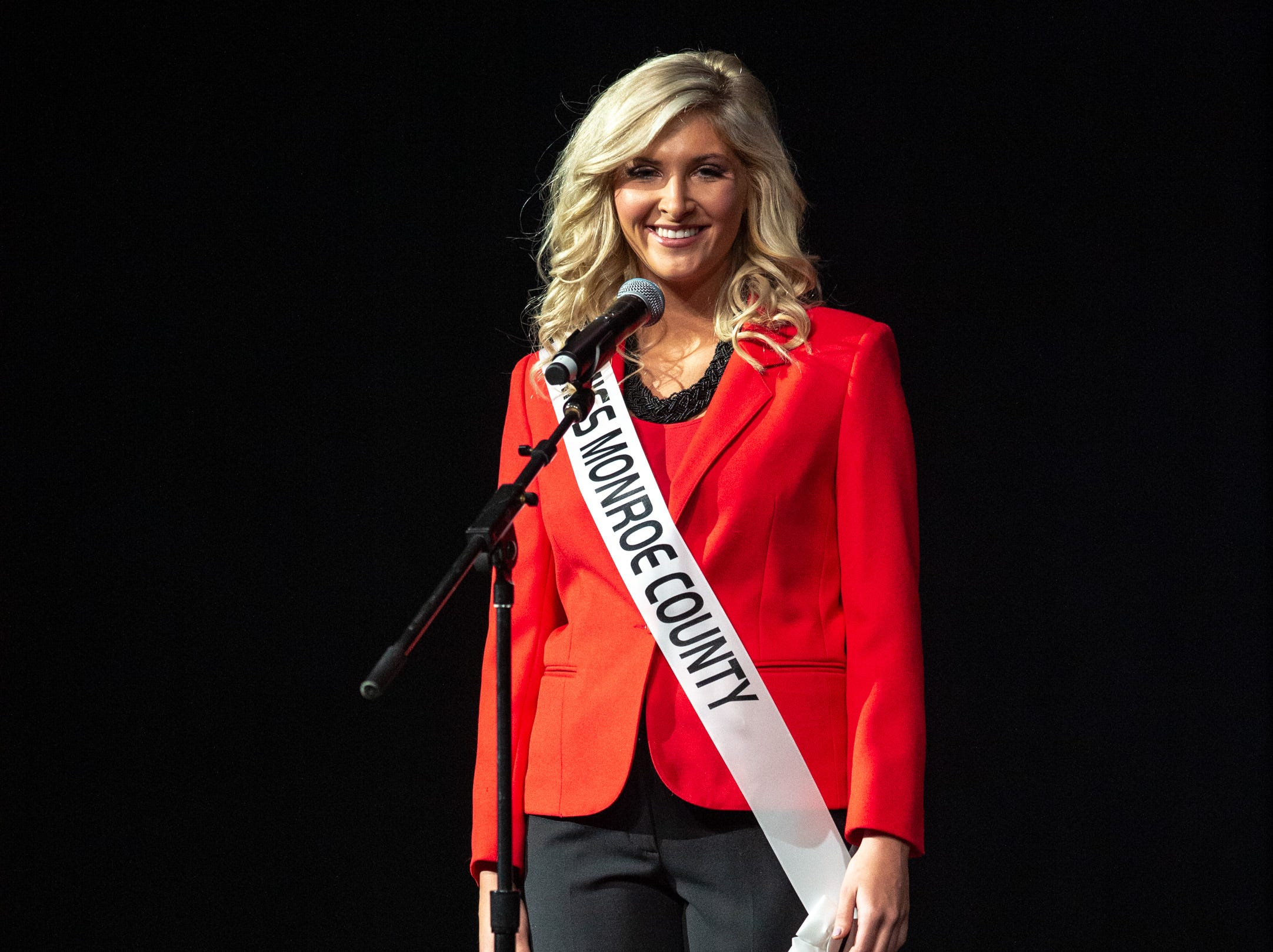 Miss Monroe County, Kylee Jones, during the 61st Indiana State Fair Queen Pageant at the Indiana State Fairgrounds in Indianapolis on Sunday, Jan. 6, 2019.
