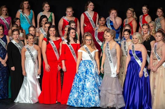 Contestants wait on stage for the introduction of the semifinalists during the 61st Indiana State Fair Queen Pageant at the Indiana State Fairgrounds in Indianapolis on Sunday, Jan. 6, 2019. Miss Benton County.