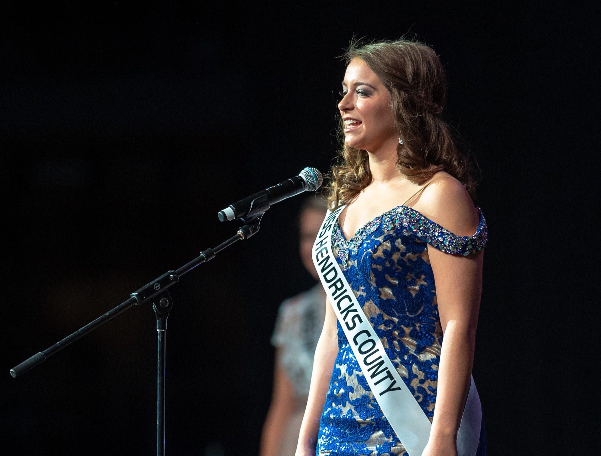 Miss Hendricks County, Melanie Leichty, introduces herself during the 61st Indiana State Fair Queen Pageant at the Indiana State Fairgrounds in Indianapolis on Sunday, Jan. 6, 2019.