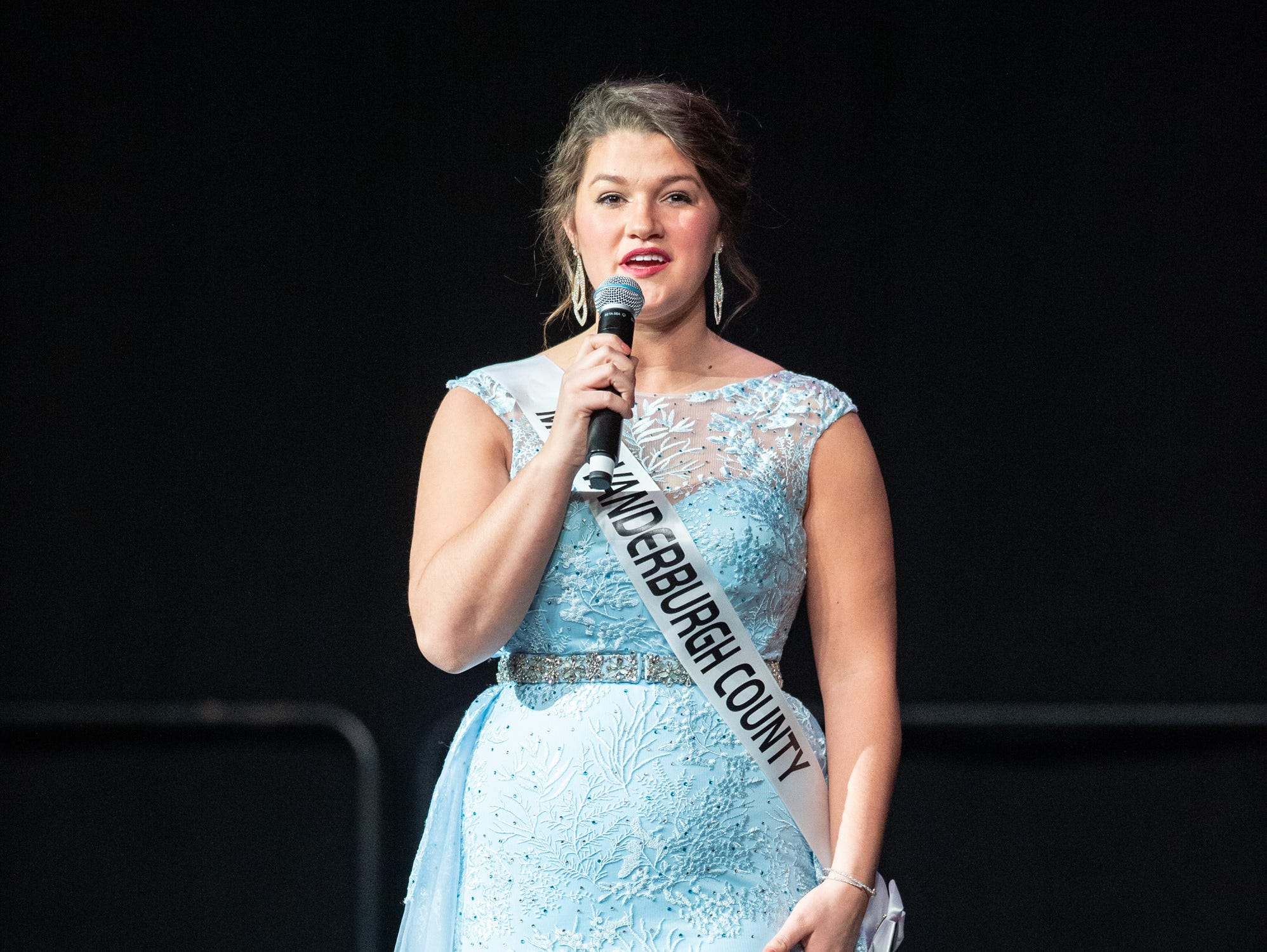 Miss Vanderburgh County, Lauren Ziliak, was given a word to use in a spontaneous response during the 61st Indiana State Fair Queen Pageant at the Indiana State Fairgrounds in Indianapolis on Sunday, Jan. 6, 2019.