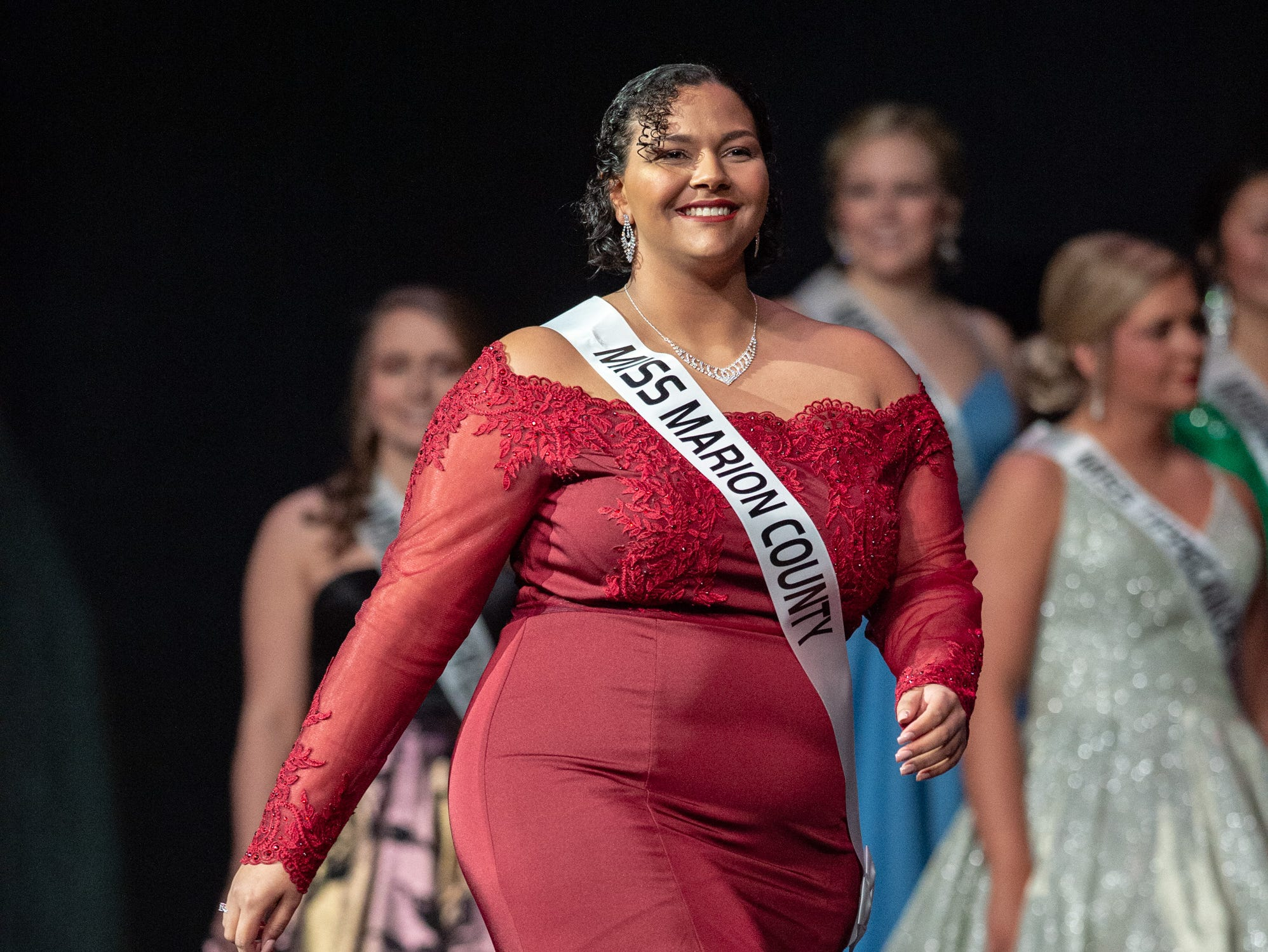 Miss Marion County, Desiree Cowling, returns to the stage with other contestants during the 61st Indiana State Fair Queen Pageant at the Indiana State Fairgrounds in Indianapolis on Sunday, Jan. 6, 2019.