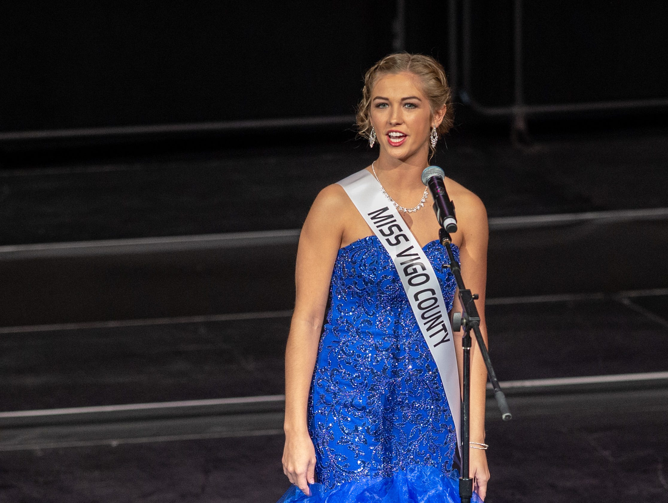 Miss Vigo County, Taylor Guevara, introduces herself during the 61st Indiana State Fair Queen Pageant at the Indiana State Fairgrounds in Indianapolis on Sunday, Jan. 6, 2019.