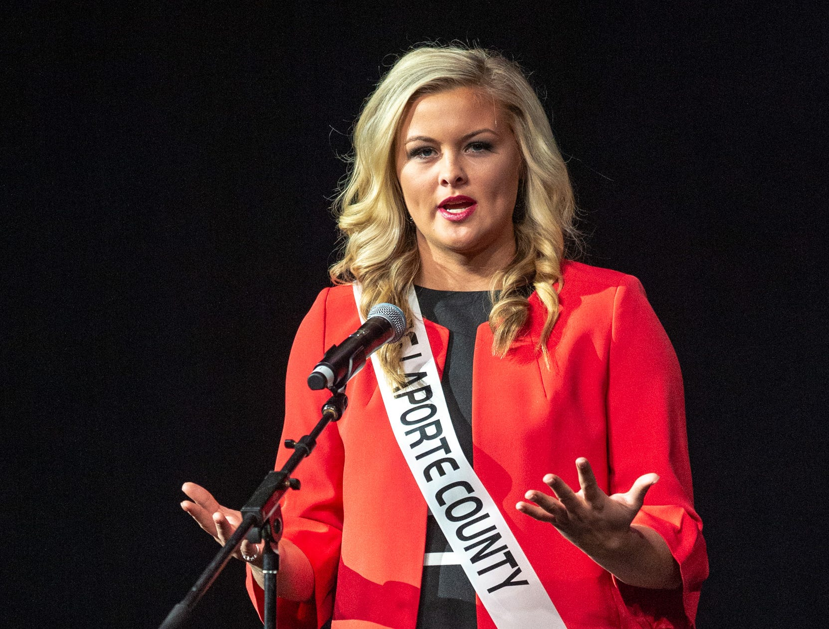 Miss LaPorte County, Janelle Mitzner, during the 61st Indiana State Fair Queen Pageant at the Indiana State Fairgrounds in Indianapolis on Sunday, Jan. 6, 2019.