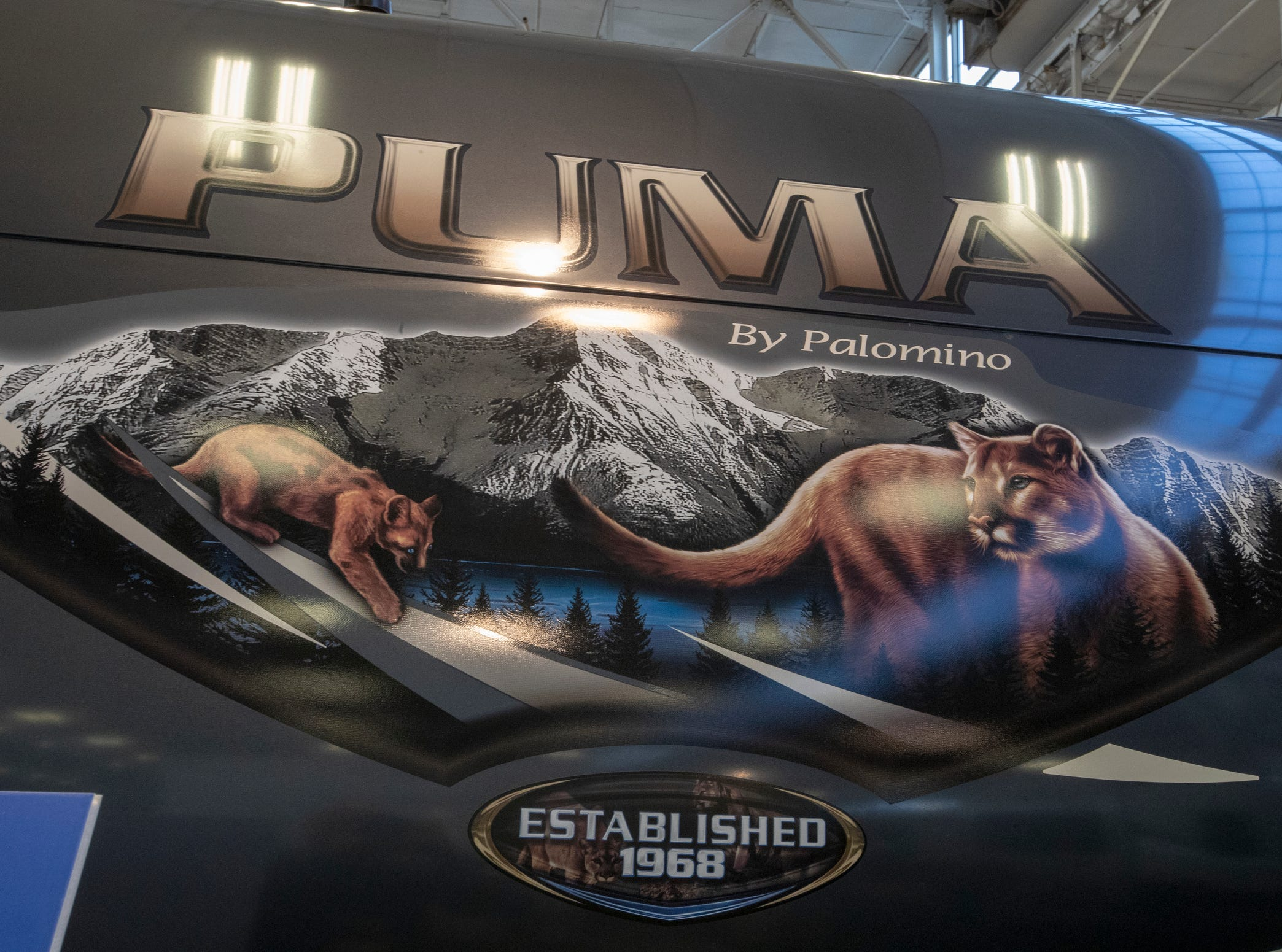 Artwork on a Palomino Puma, at Indy RV Expo, Indiana State Fairgrounds, Indianapolis, Sunday, January 6, 2019. The show runs through the 13th.