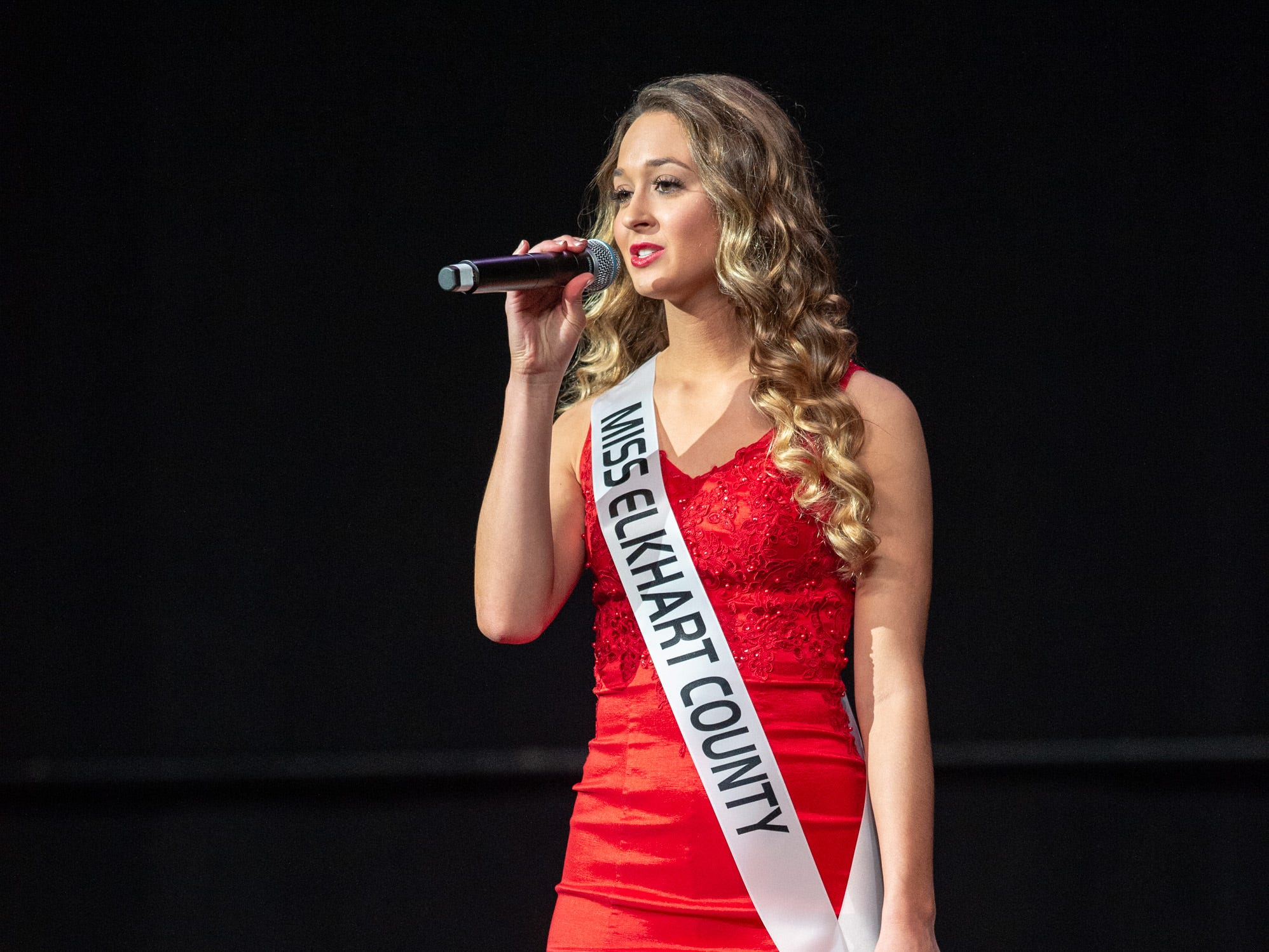 """Miss Elkhart County, Emily Yoder, was given the word """"empowered"""" to use in a spontaneous response during the 61st Indiana State Fair Queen Pageant at the Indiana State Fairgrounds in Indianapolis on Sunday, Jan. 6, 2019."""